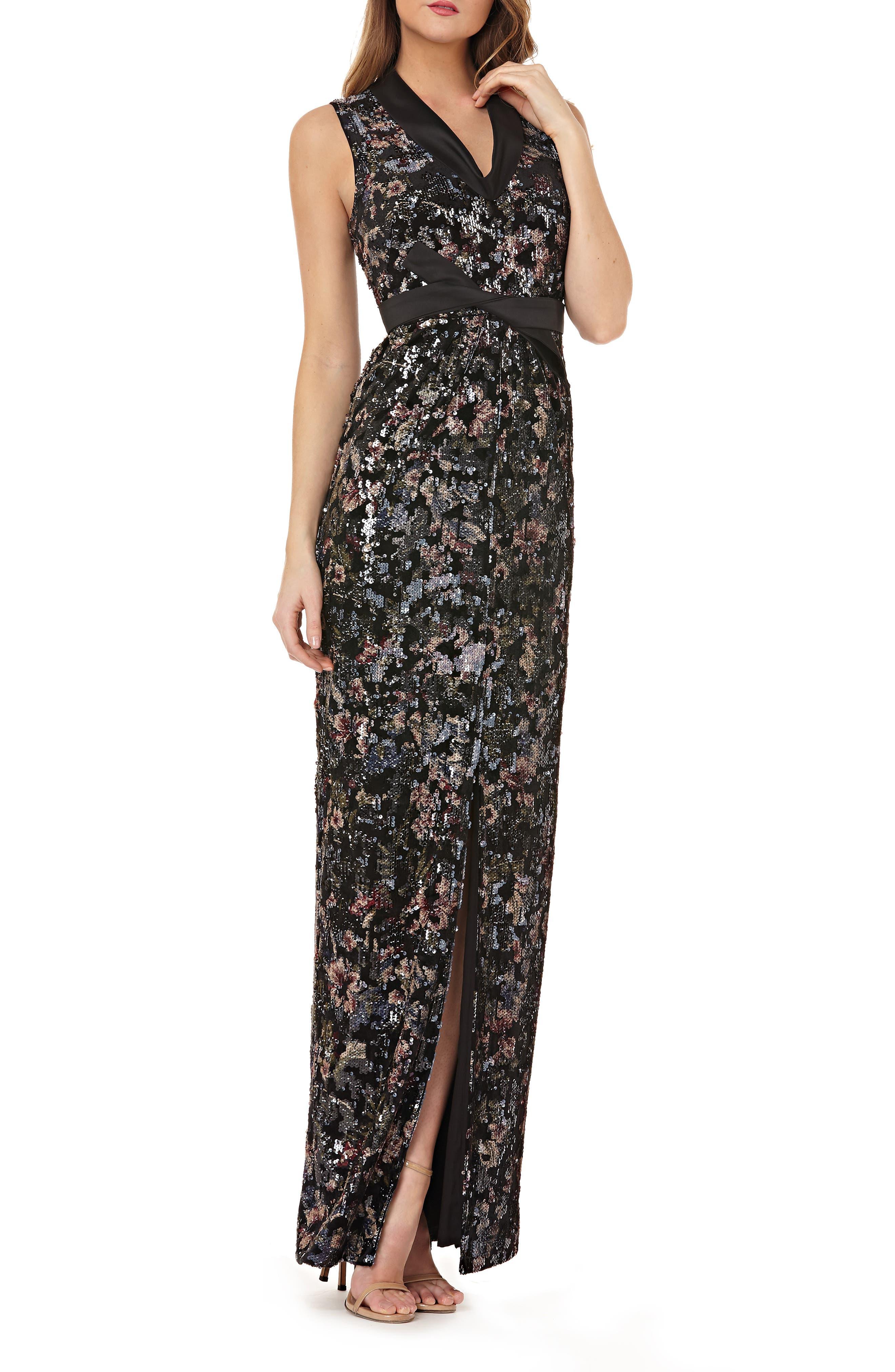 KAY UNGER Stretch Velvet Gown W/ Sequins & Satin in Black Multi