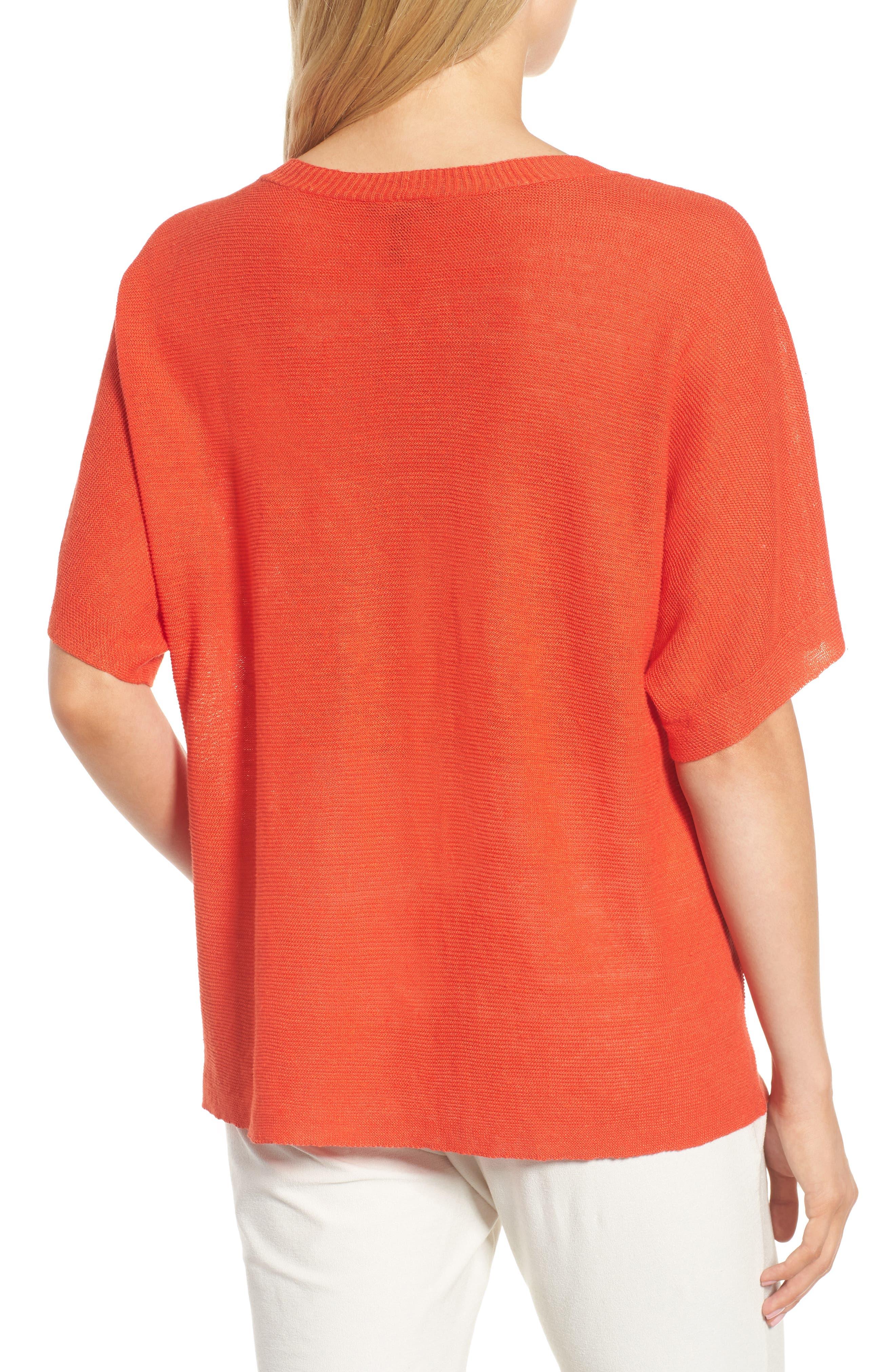 V-Neck Organic Linen Top,                             Alternate thumbnail 12, color,