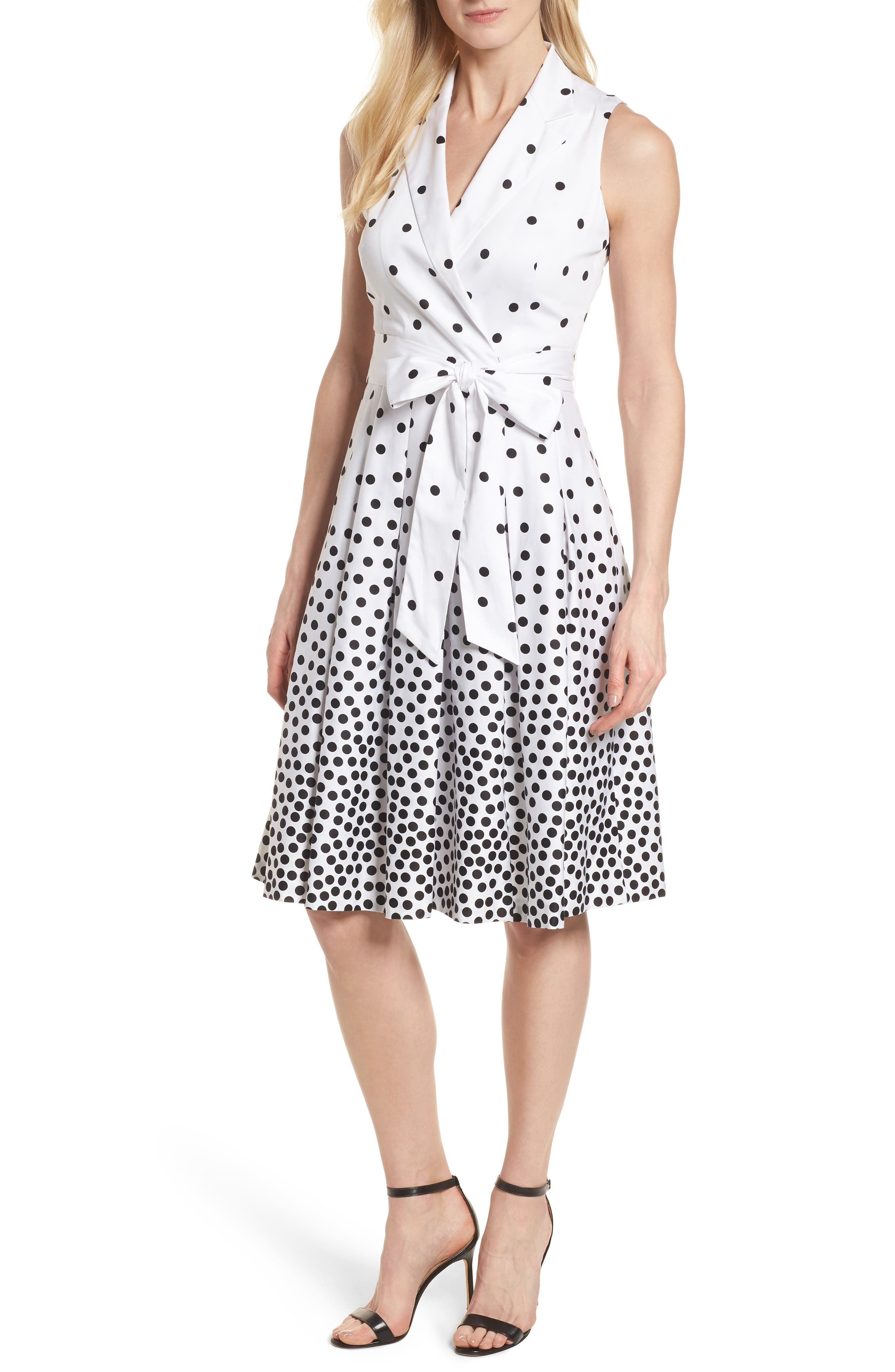 Scattered Dot Notch Collar Dress,                         Main,                         color, 100