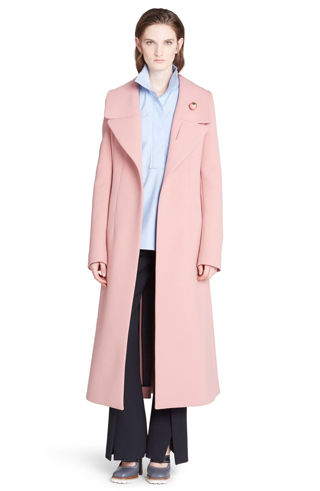 MARNI,                             Wide Lapel Wool Blend Coat,                             Main thumbnail 1, color,                             650
