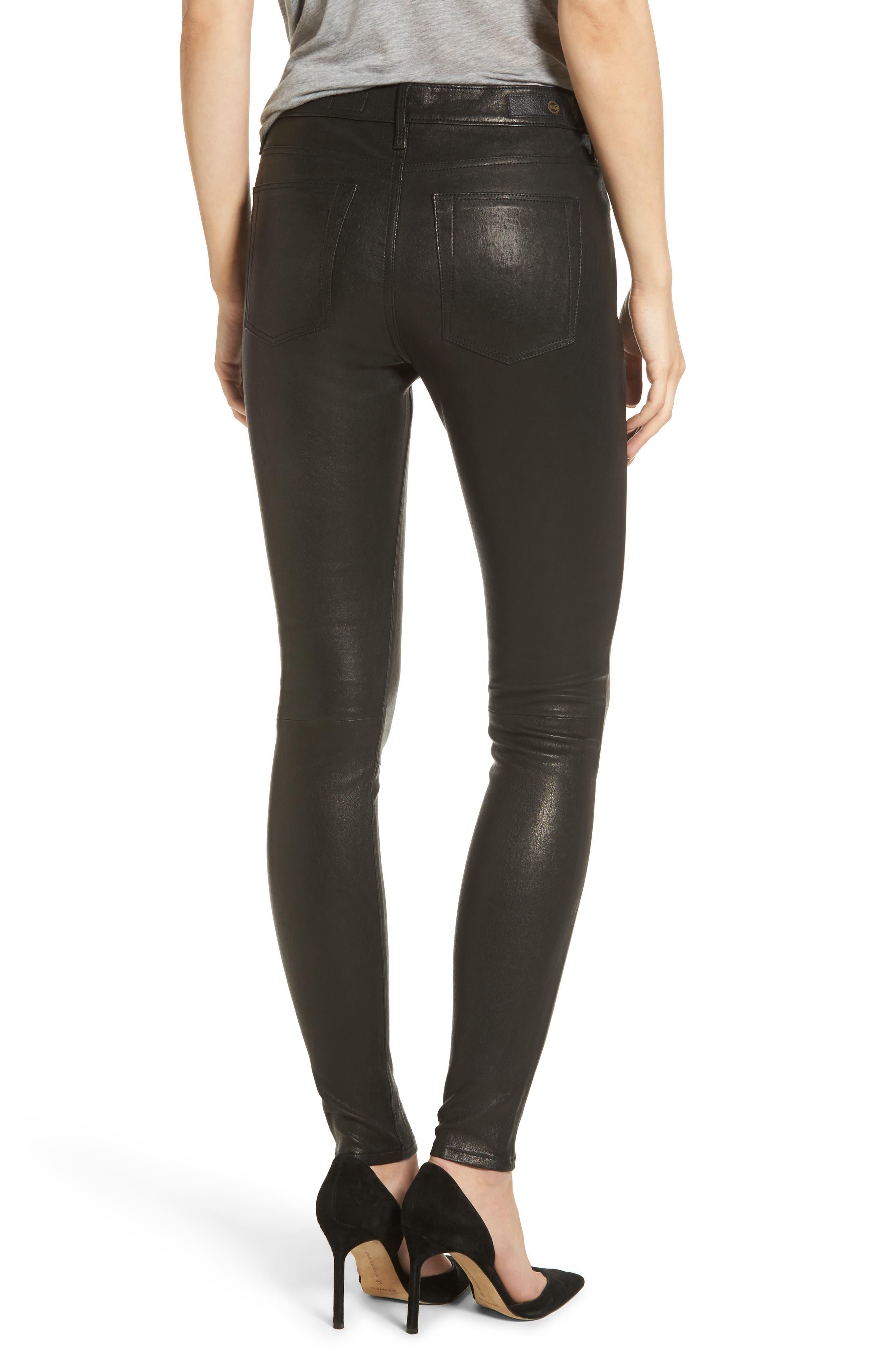 Farrah Leather Skinny Jeans,                             Alternate thumbnail 4, color,