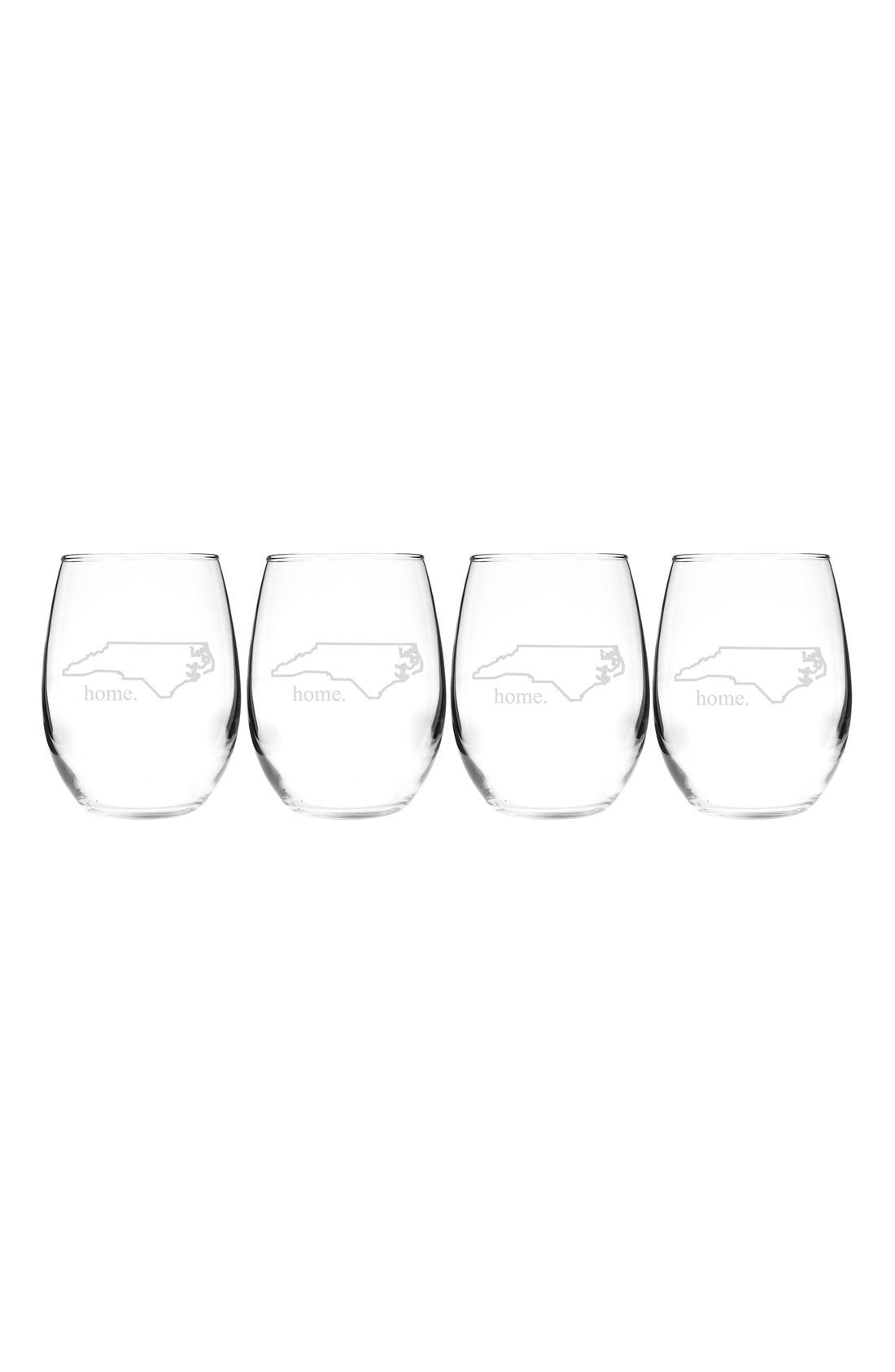 Home State Set of 4 Stemless Wine Glasses,                             Main thumbnail 28, color,