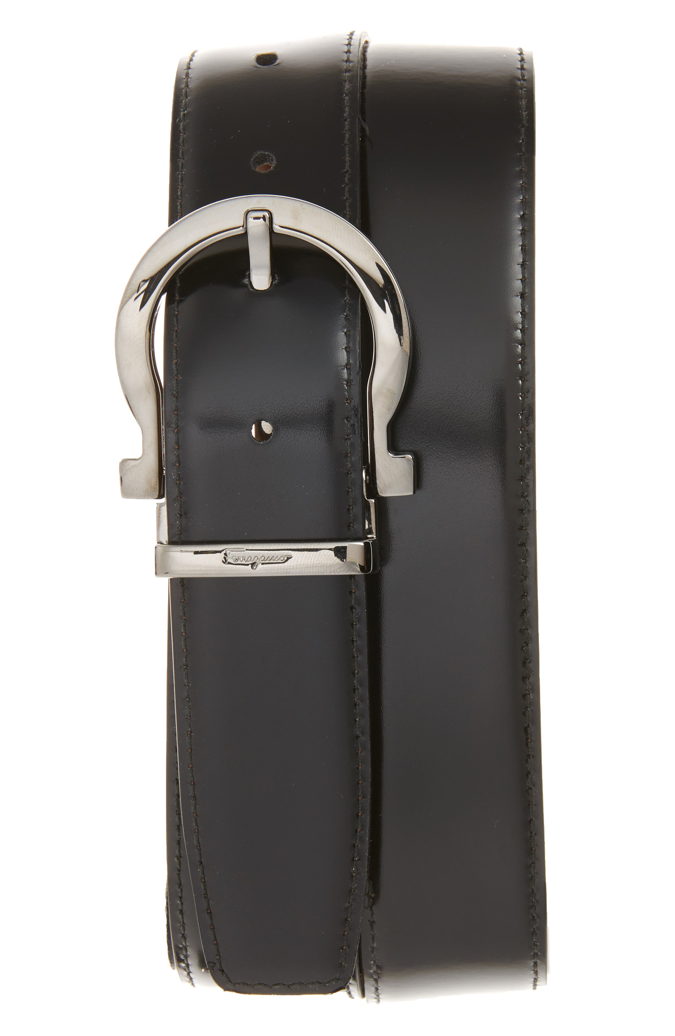 Reversible Leather Belt,                             Alternate thumbnail 2, color,                             MADERA/ BLACK