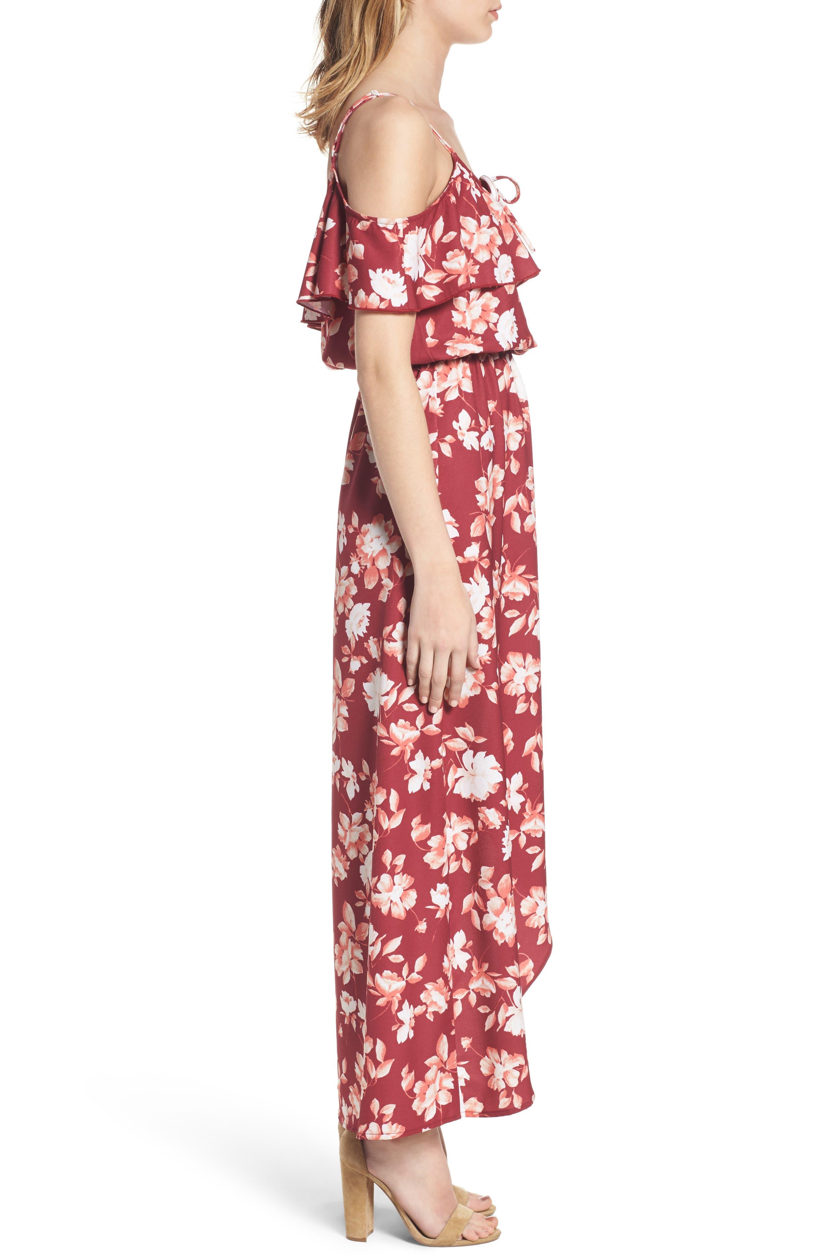 Cold Shoulder Asymmetrical Maxi Dress,                             Alternate thumbnail 6, color,