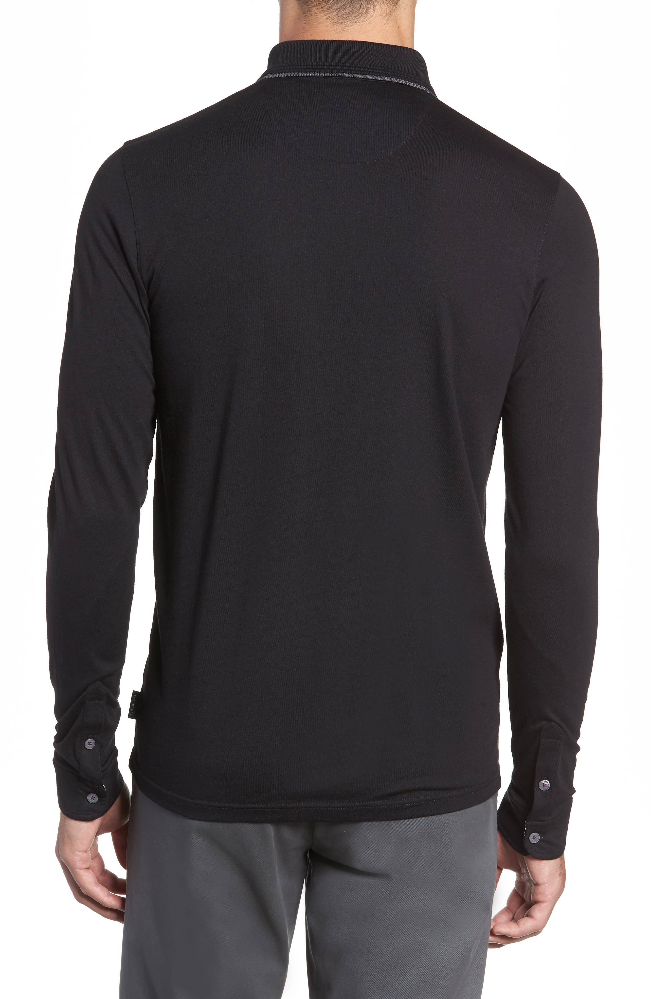 Loomie Slim Fit Tipped Long Sleeve Polo,                             Alternate thumbnail 2, color,                             BLACK