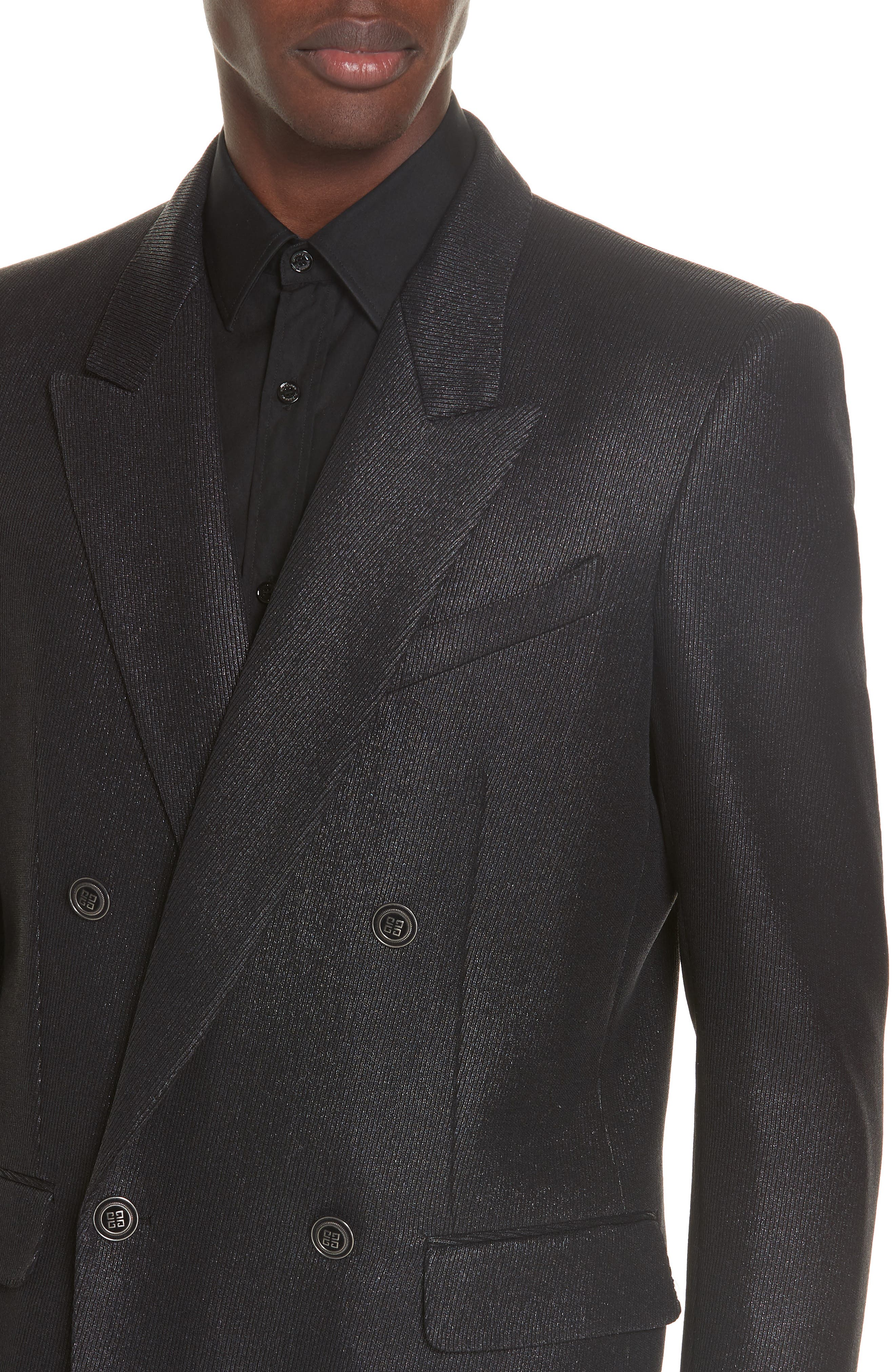 Double Breasted Wool Blazer,                             Alternate thumbnail 4, color,                             001