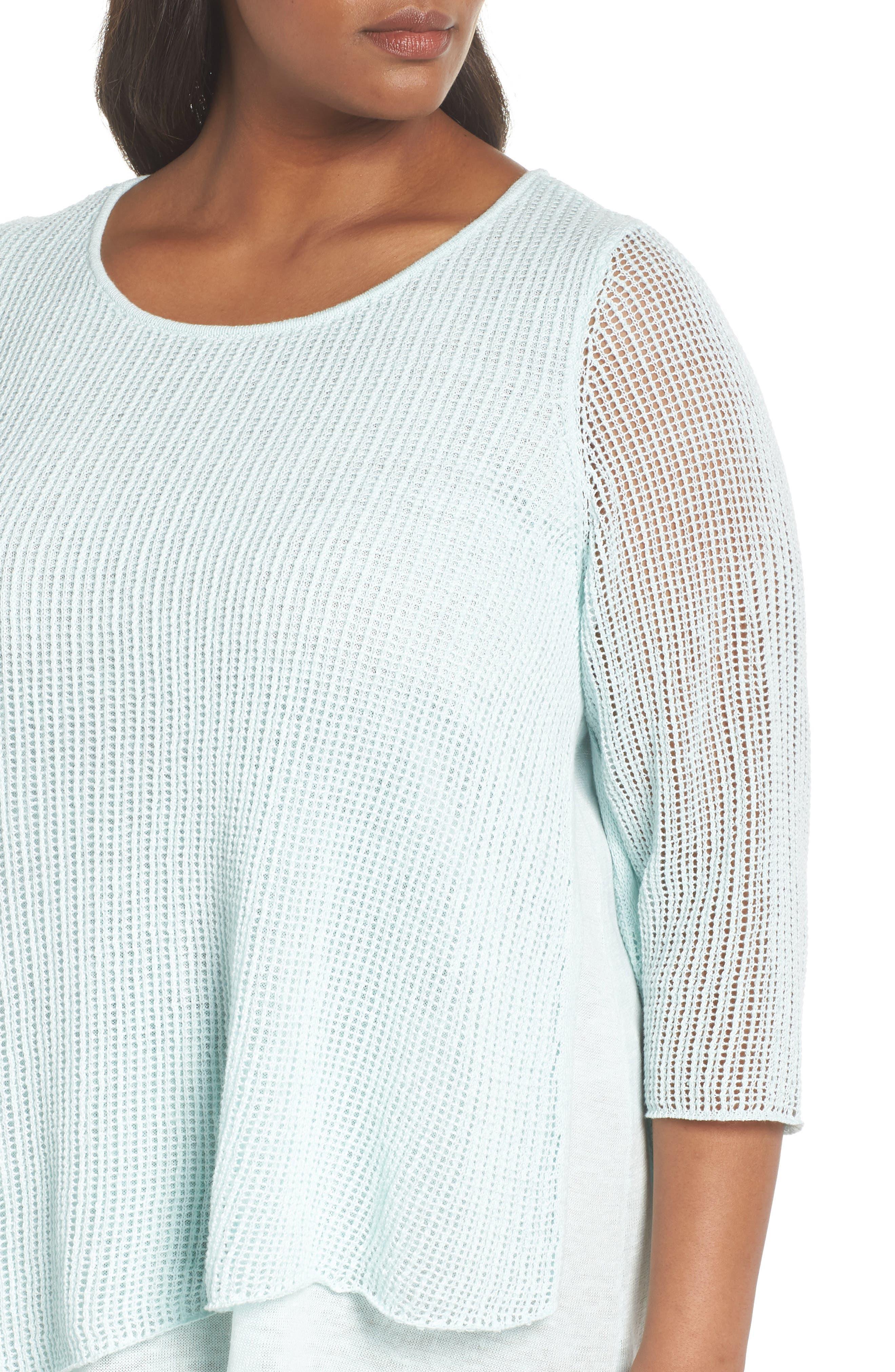 Layered Organic Linen Tunic Sweater,                             Alternate thumbnail 12, color,