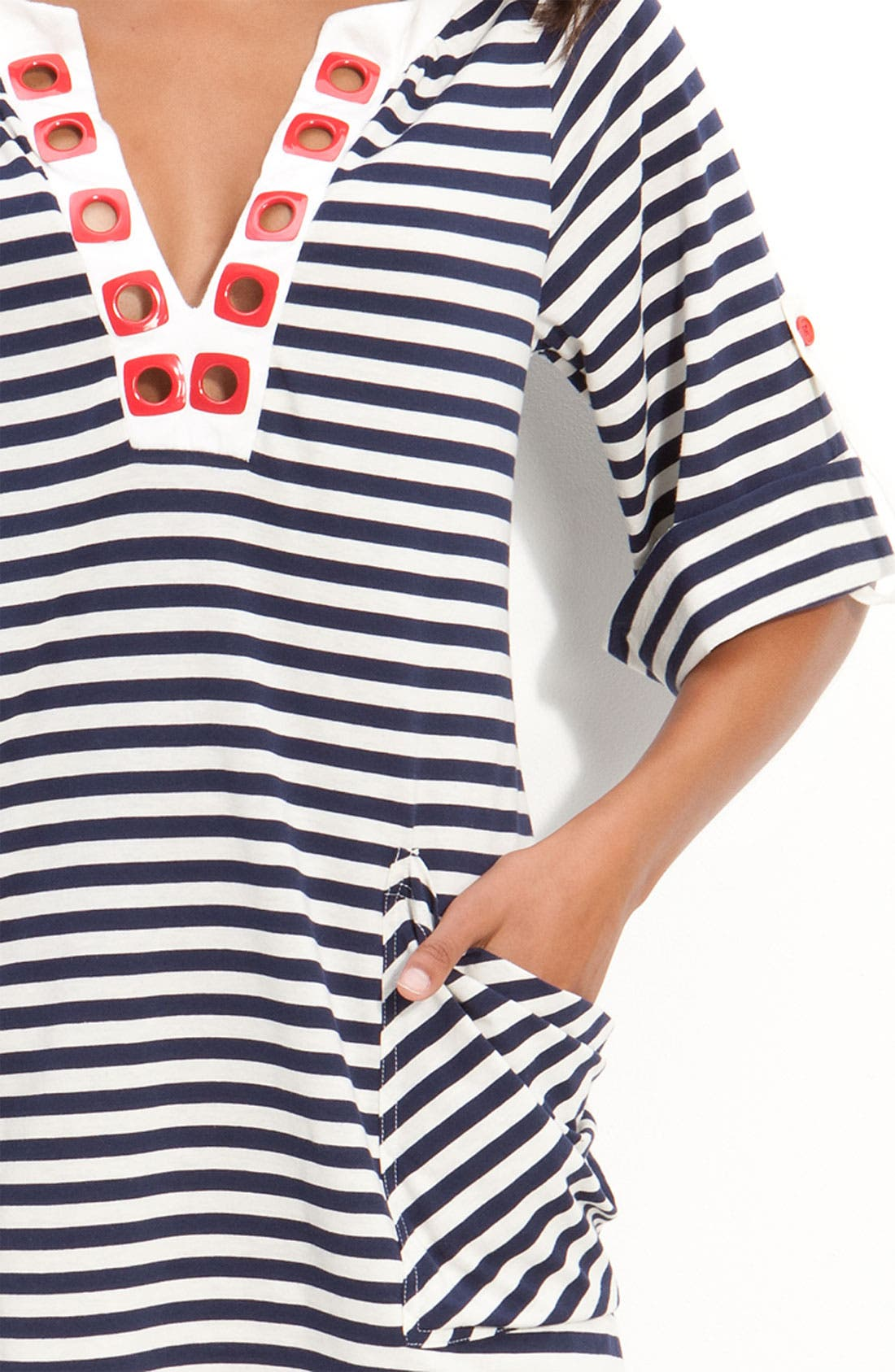 'Riviera Stripe' Tunic Cover-Up,                             Alternate thumbnail 4, color,                             410