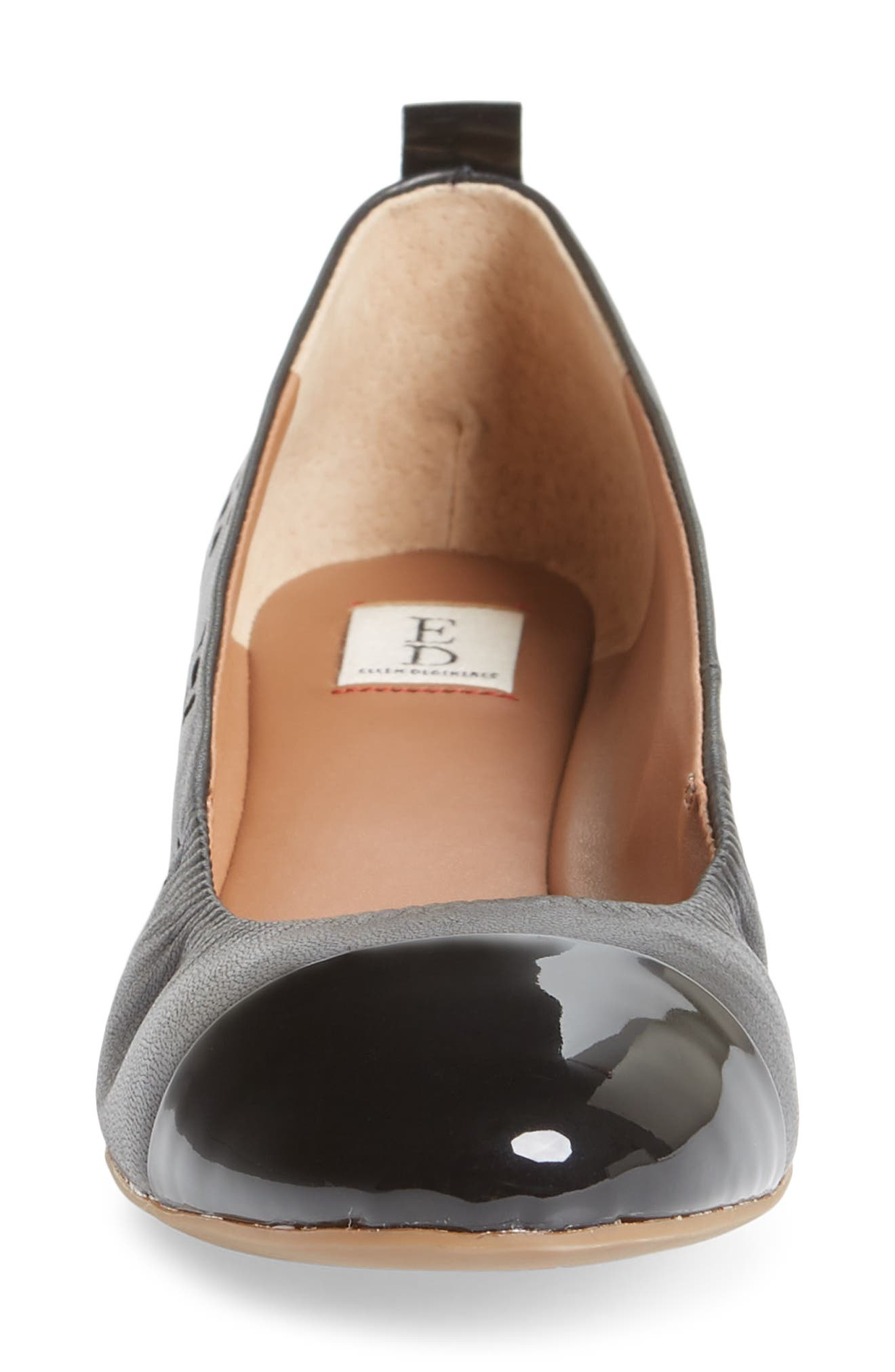 Larra Cap Toe Ballet Flat,                             Alternate thumbnail 4, color,                             001