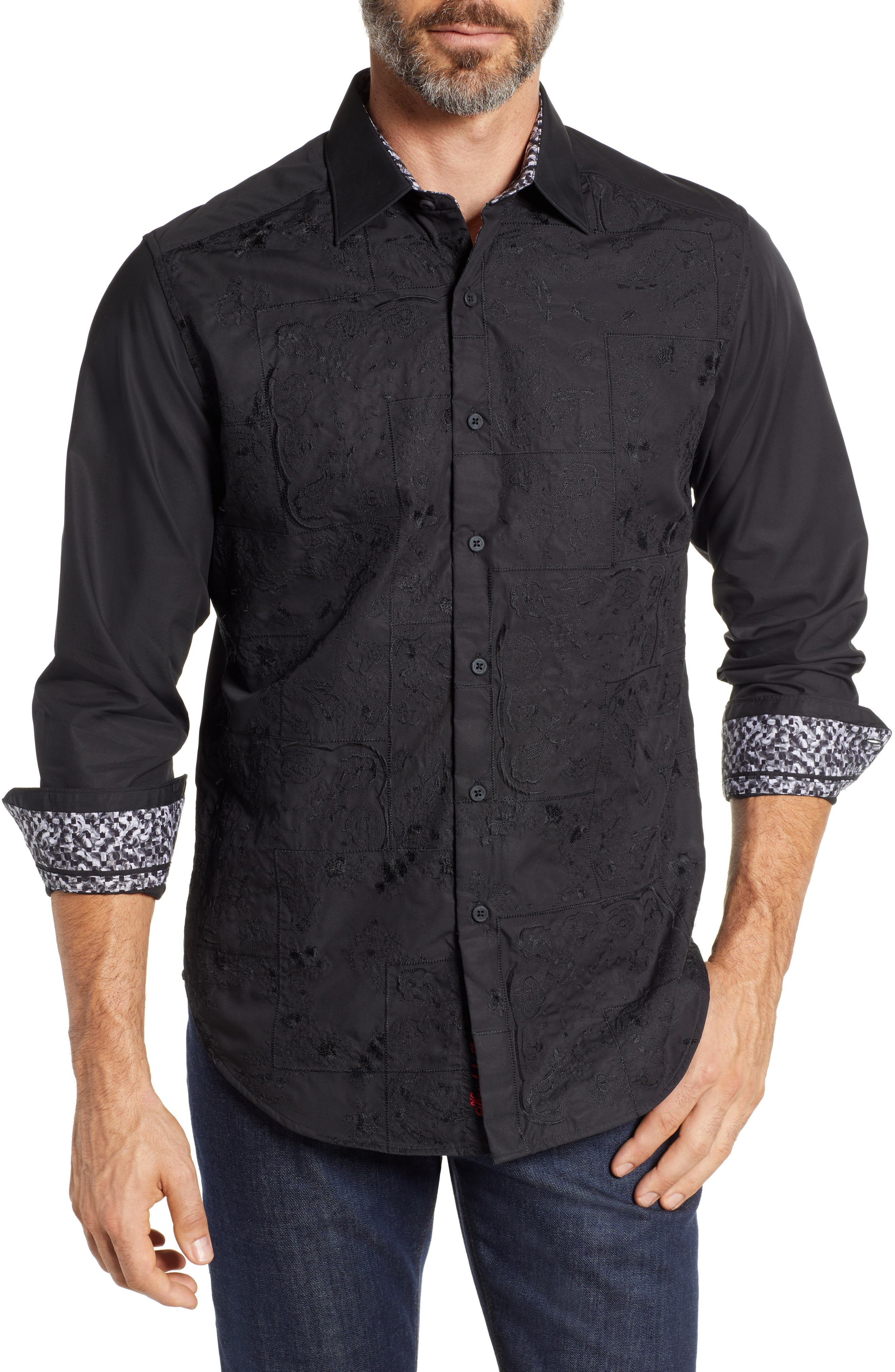 Onyx Classic Fit Embroidered Sport Shirt,                             Main thumbnail 1, color,                             001