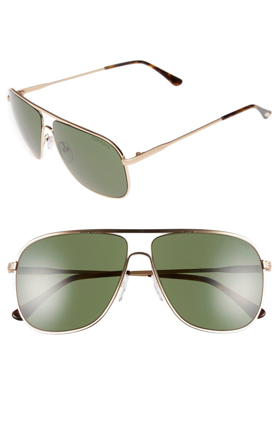 60mm Aviator Sunglasses,                         Main,                         color, SRGLD/GRN