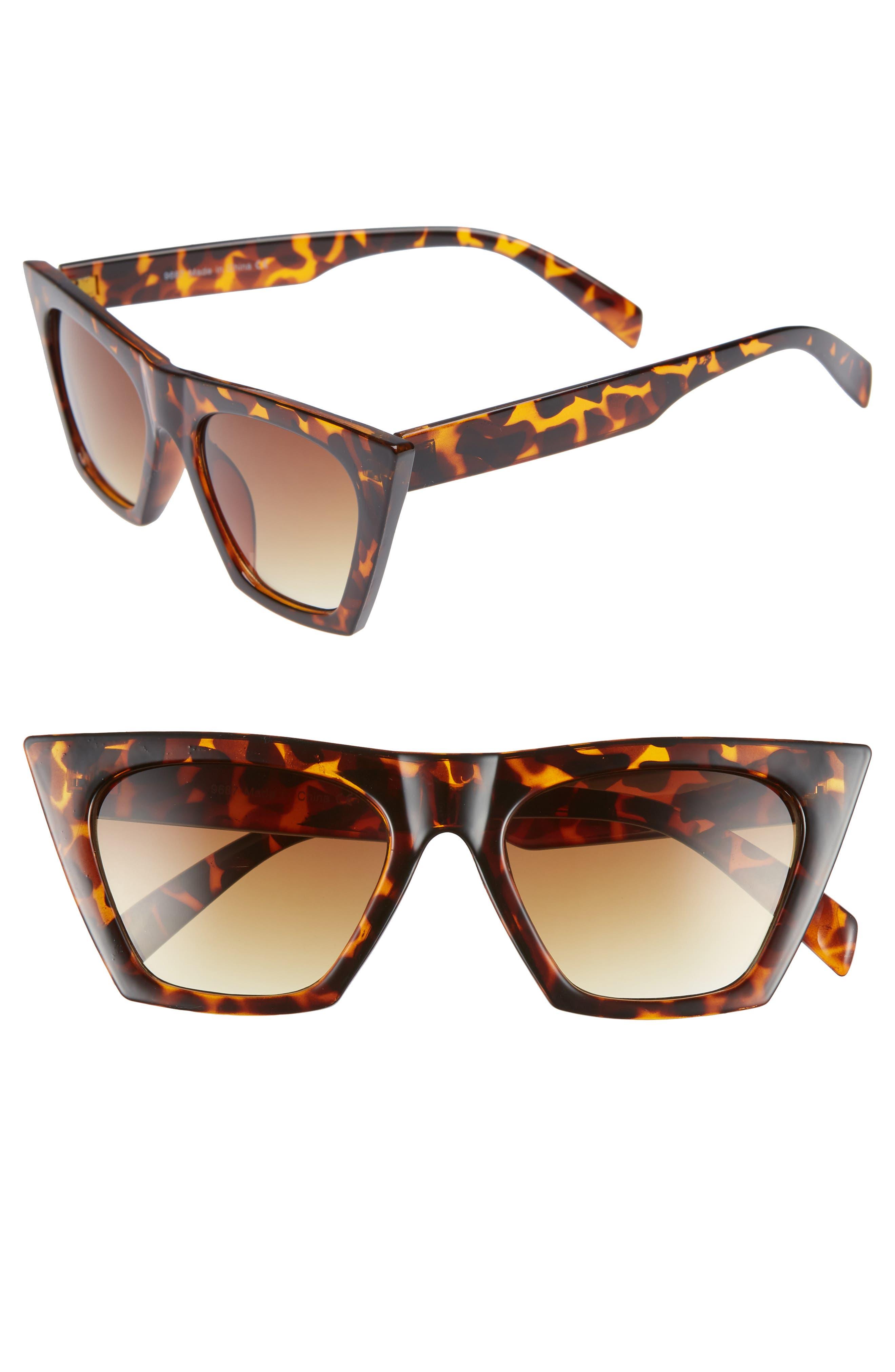 50mm Cat Eye Sunglasses,                             Main thumbnail 1, color,                             BROWN MULTI
