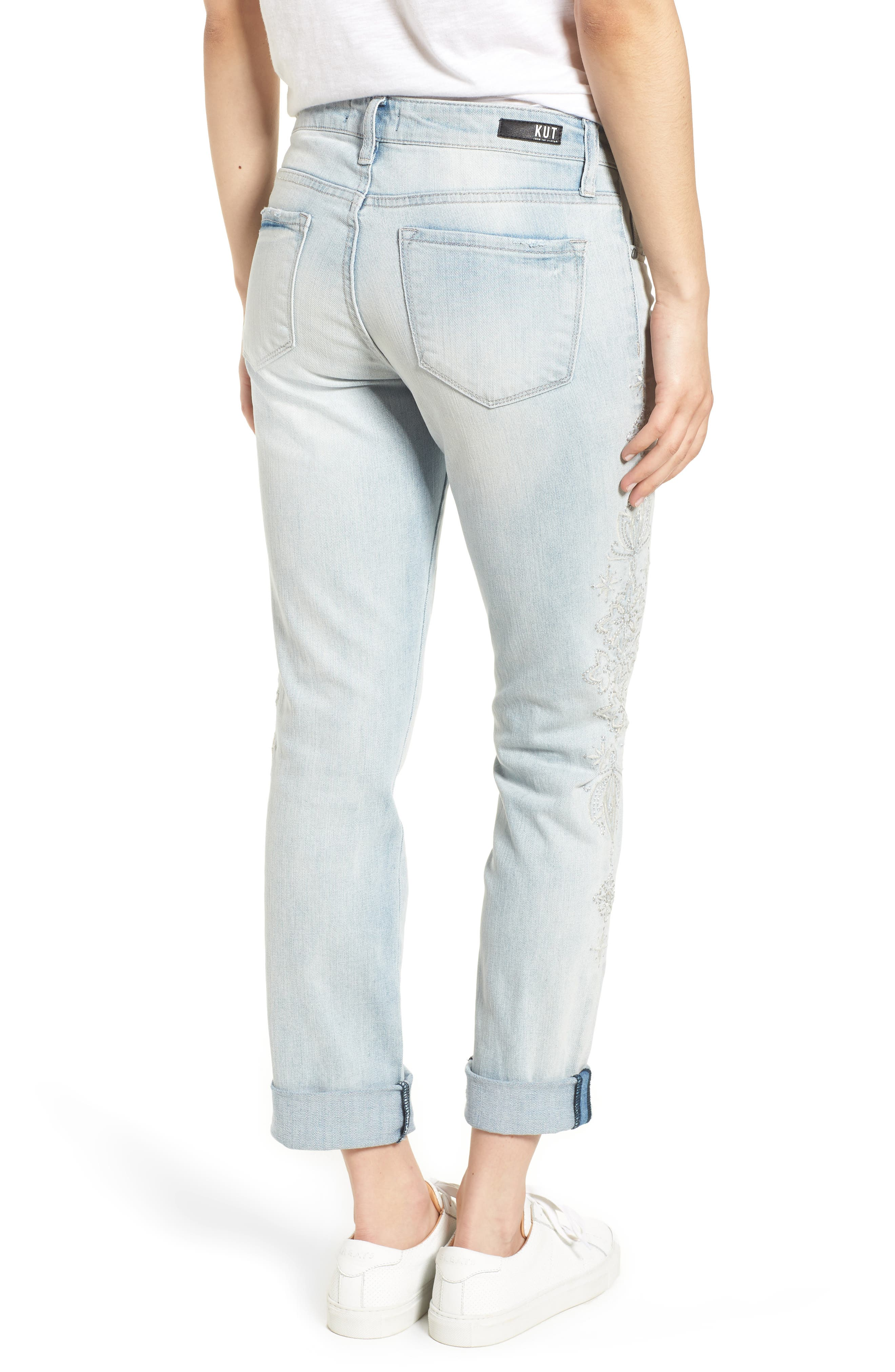 KUT from the Kloth Catherine Embroidered & Ripped Boyfriend Jeans,                             Alternate thumbnail 2, color,