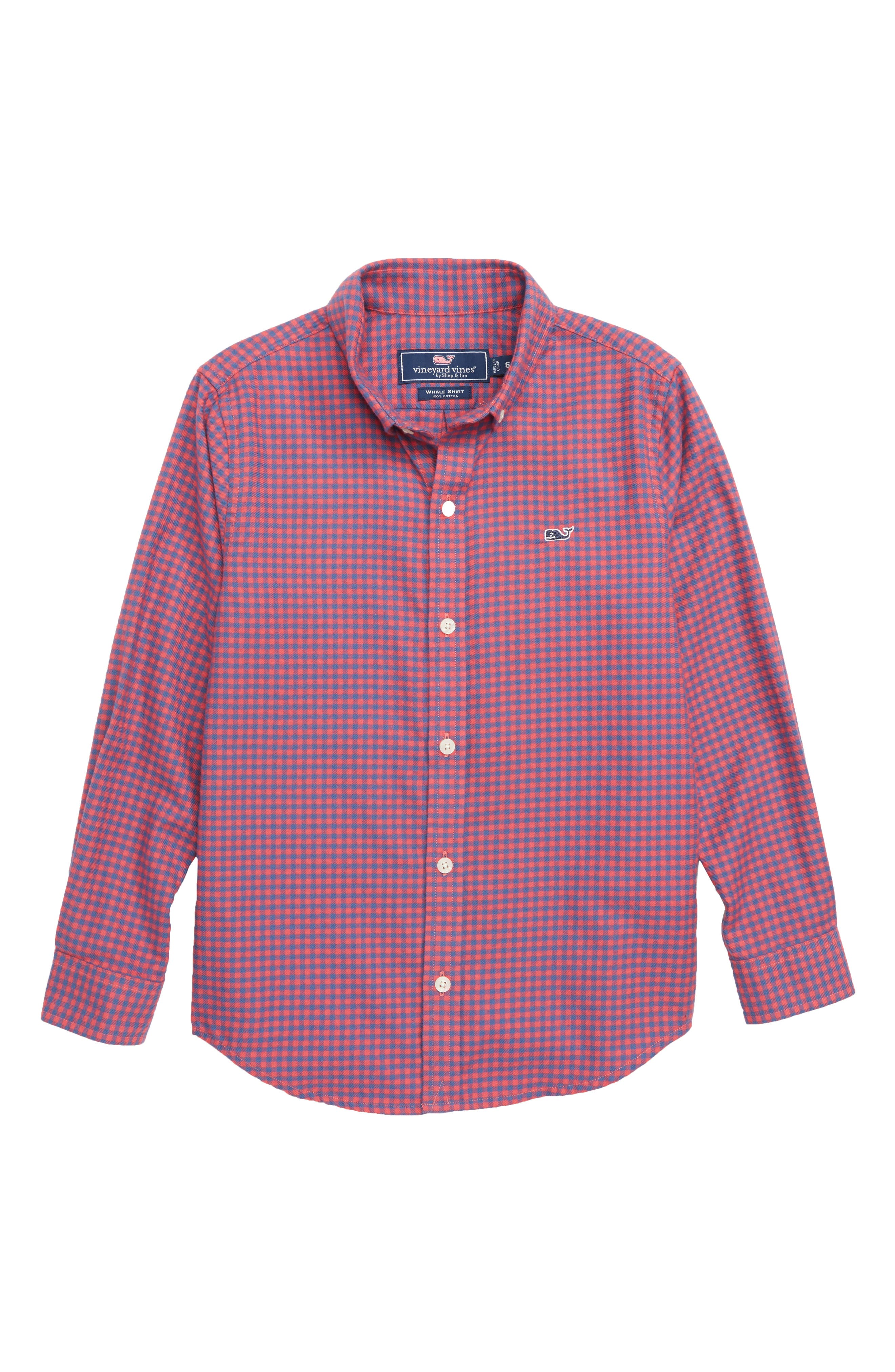Trade Winds Flannel Whale Shirt,                             Main thumbnail 1, color,                             SAILORS RED