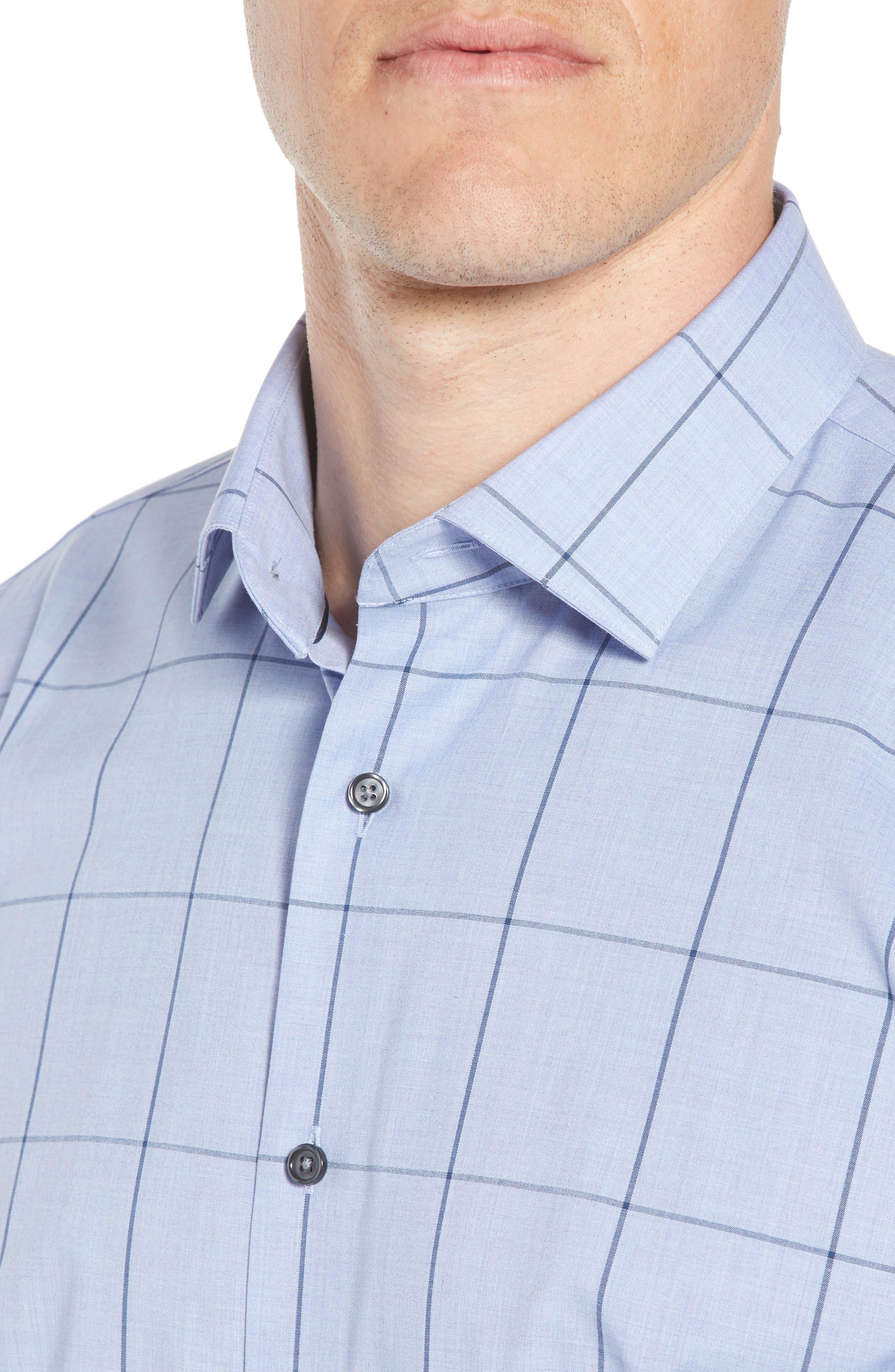 Trim Fit Non-Iron Windowpane Dress Shirt,                             Alternate thumbnail 2, color,                             BLUE HAZE