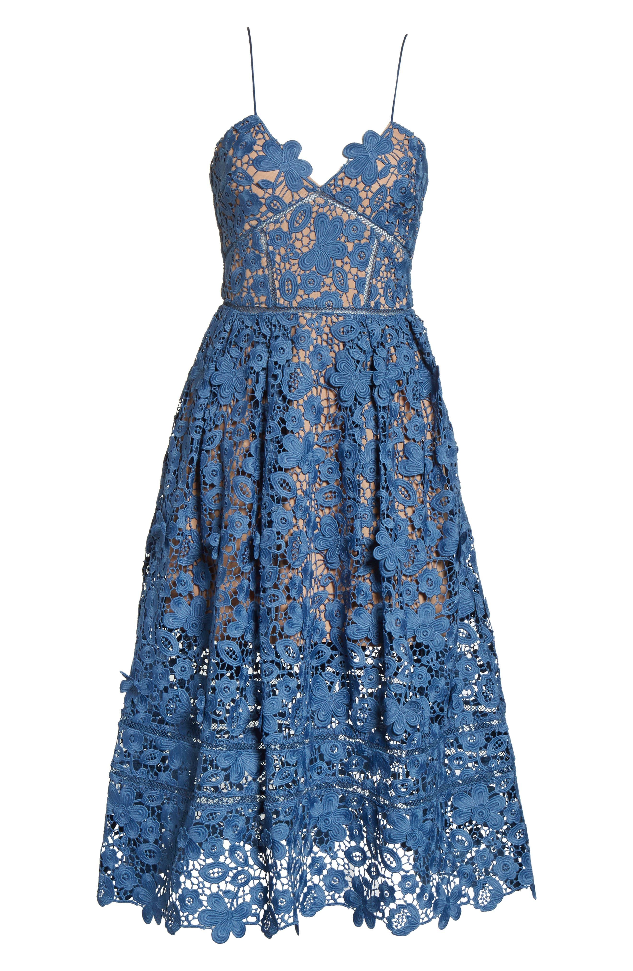 Azaelea 3D Lace Fit & Flare Dress,                             Alternate thumbnail 6, color,                             SLATE BLUE