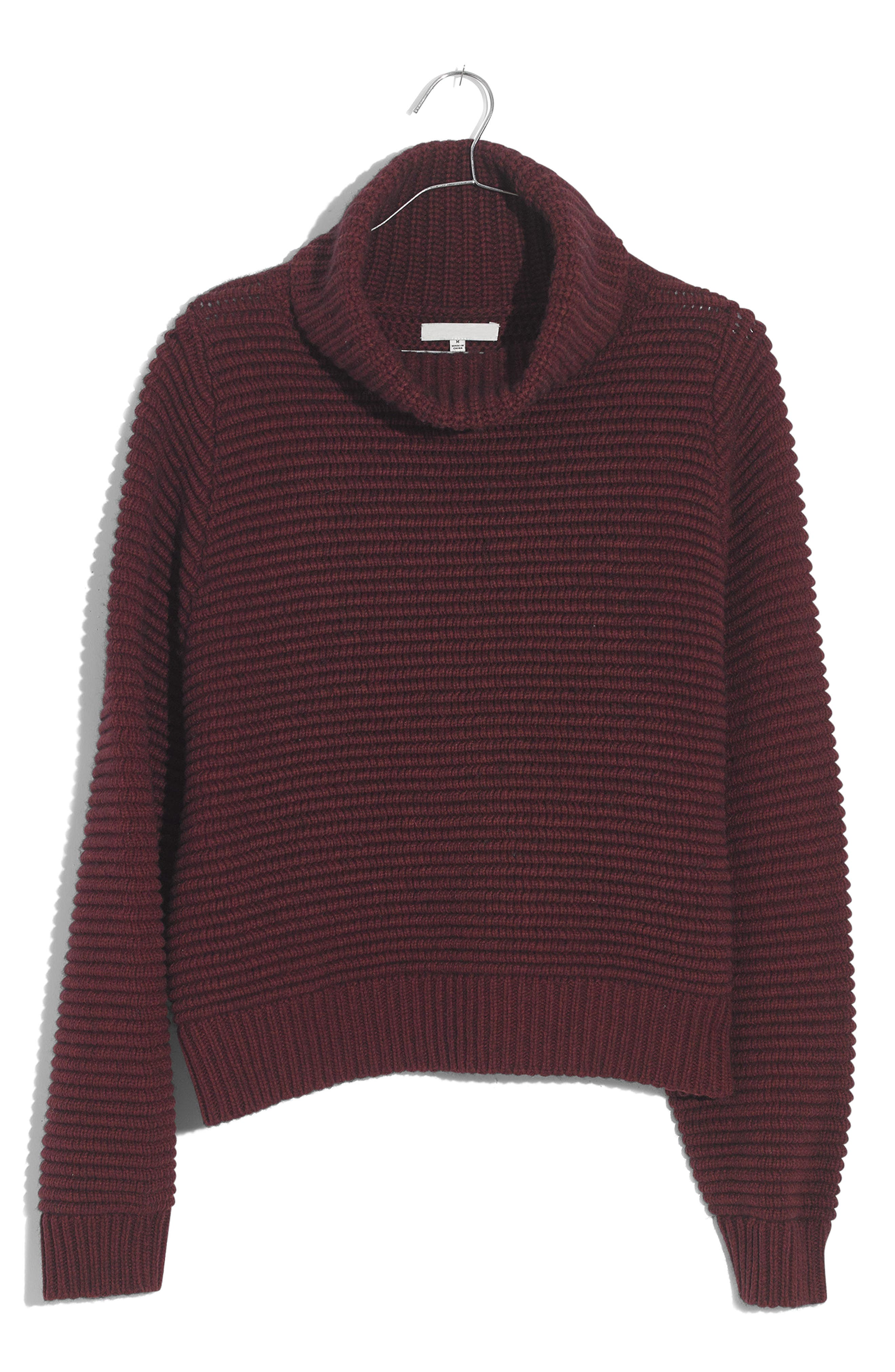 Side Button Turtleneck Sweater,                         Main,                         color, HEATHER CHERRY