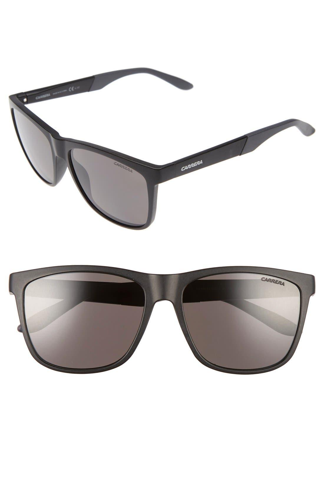 8022/S 56mm Polarized Sunglasses,                             Alternate thumbnail 3, color,                             MATTE BLACK