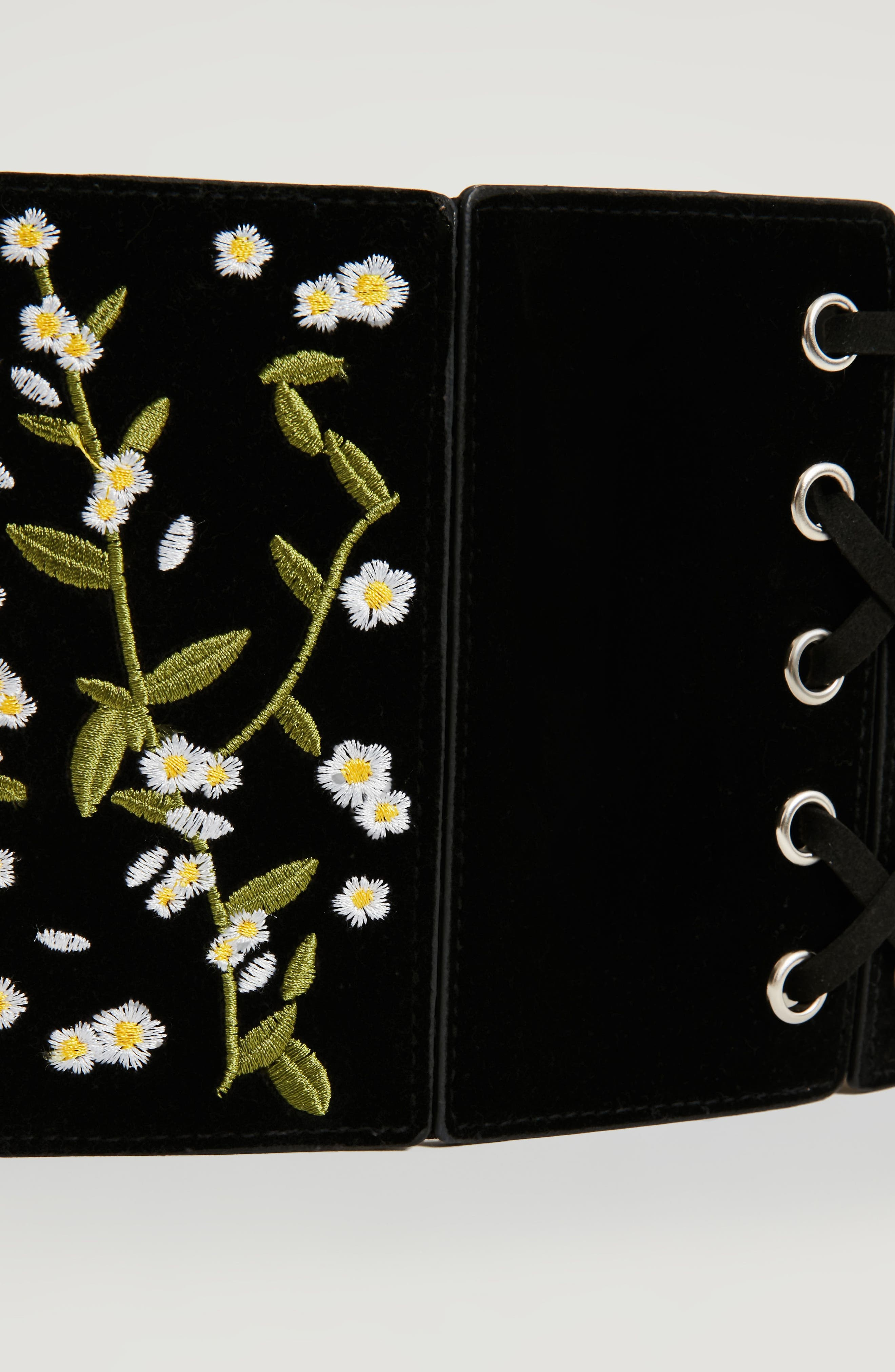 Floral Embroidered Faux Leather Lace-Up Belt,                             Alternate thumbnail 2, color,                             001