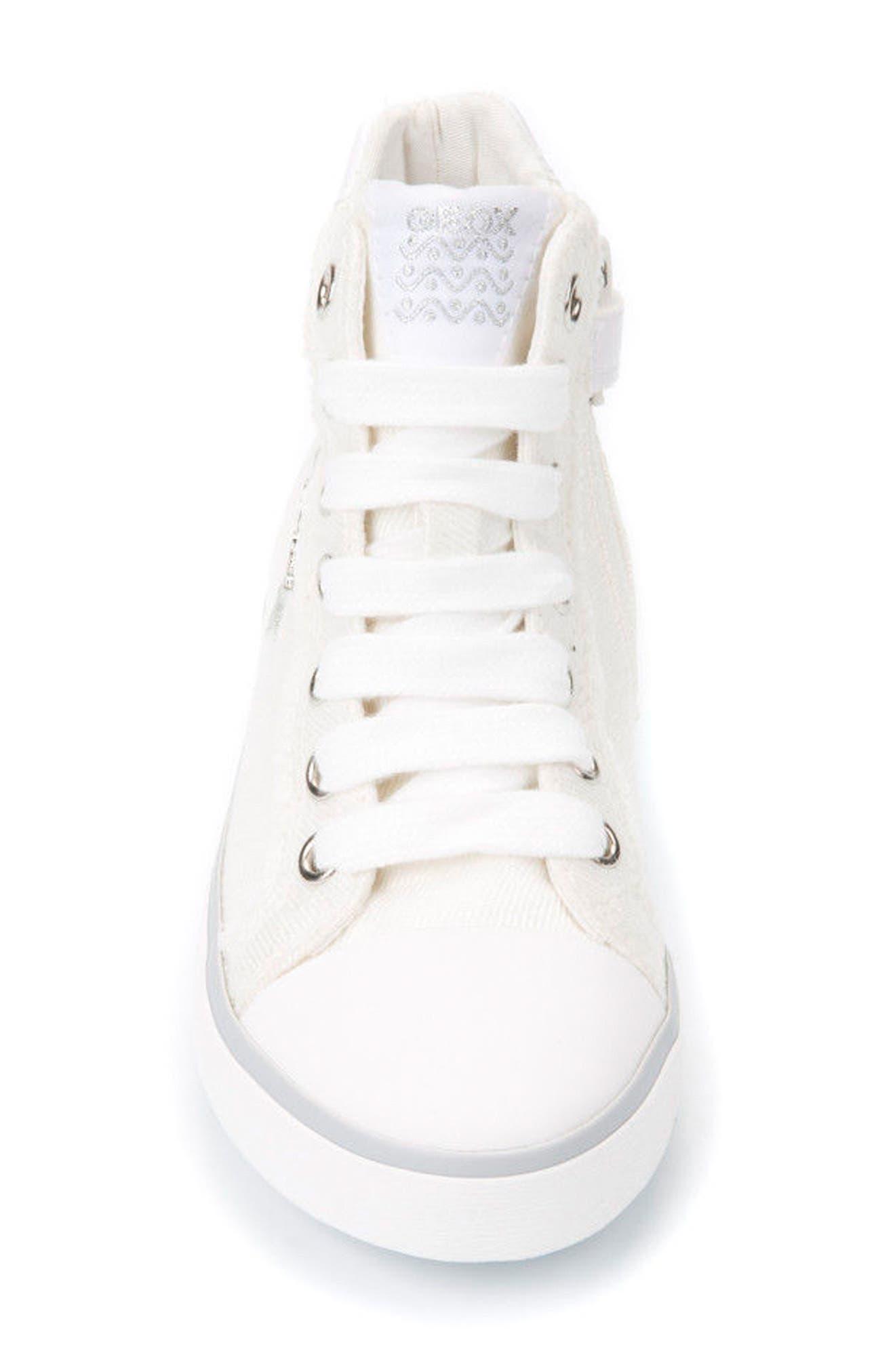 Kilwi High Top Zip Sneaker,                             Alternate thumbnail 4, color,                             WHITE