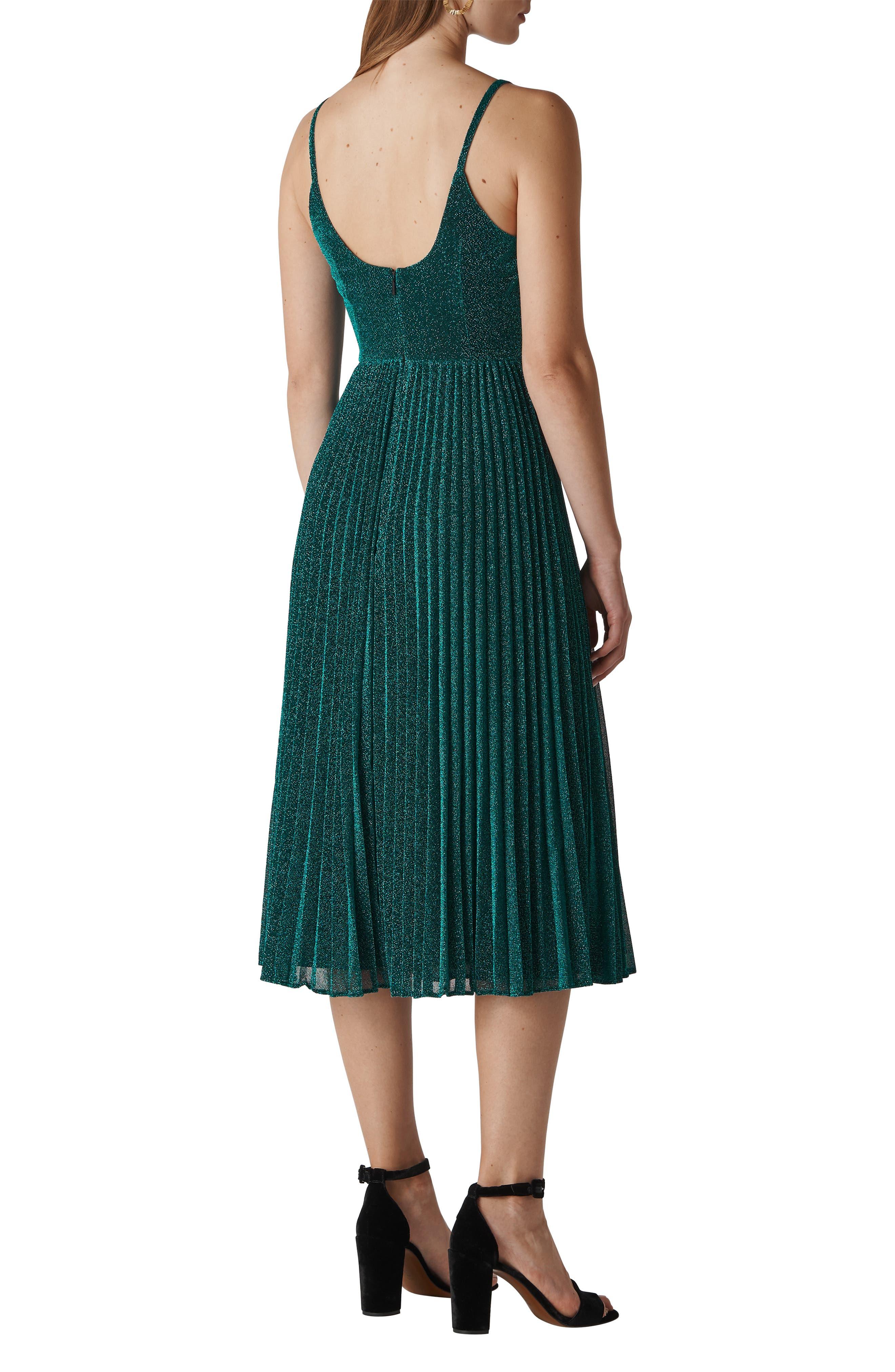 Regina Sparkle Pleated Midi Dress,                             Alternate thumbnail 2, color,                             GREEN