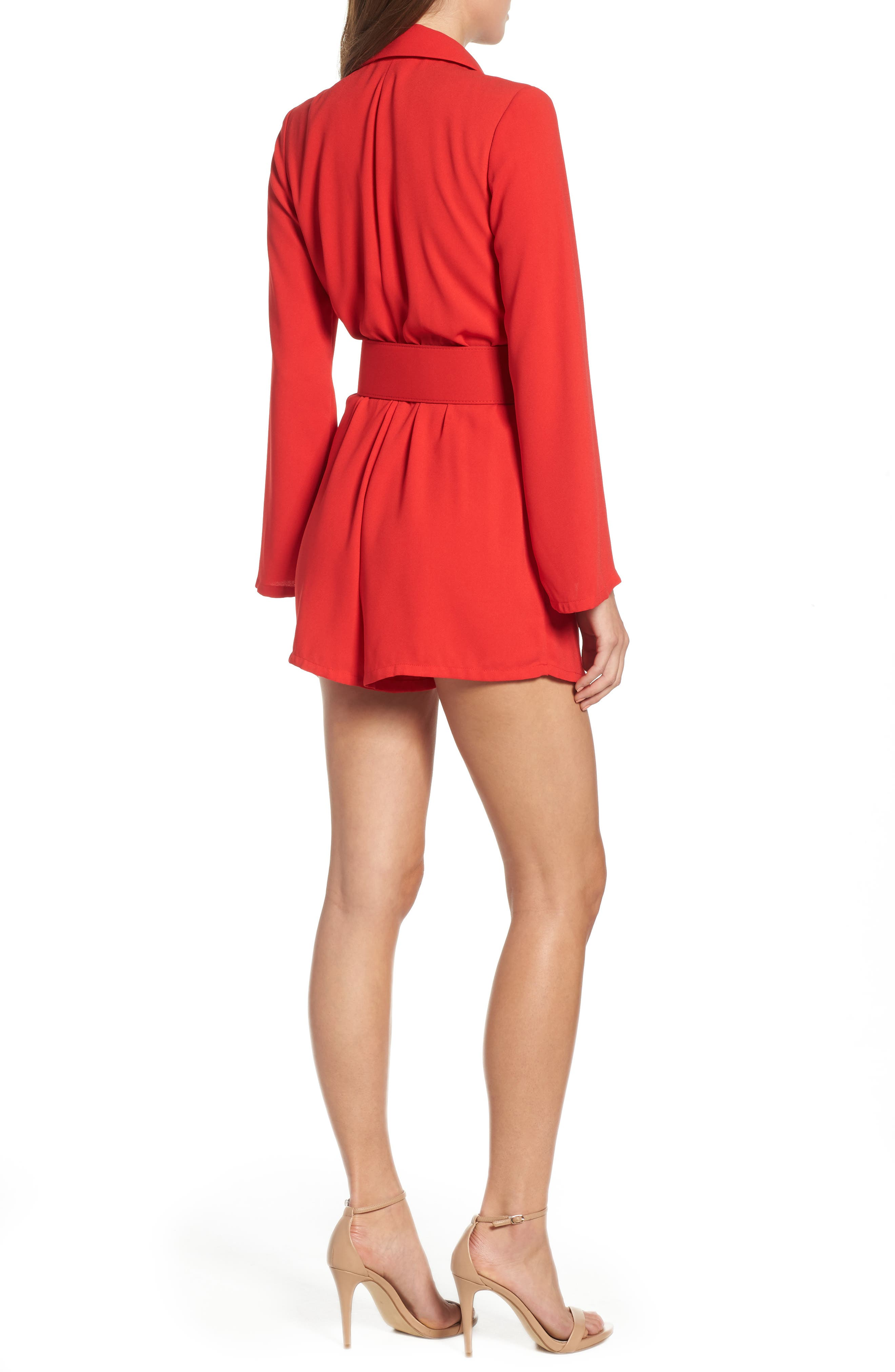 Belted Romper,                             Alternate thumbnail 2, color,                             RED CHINOISE