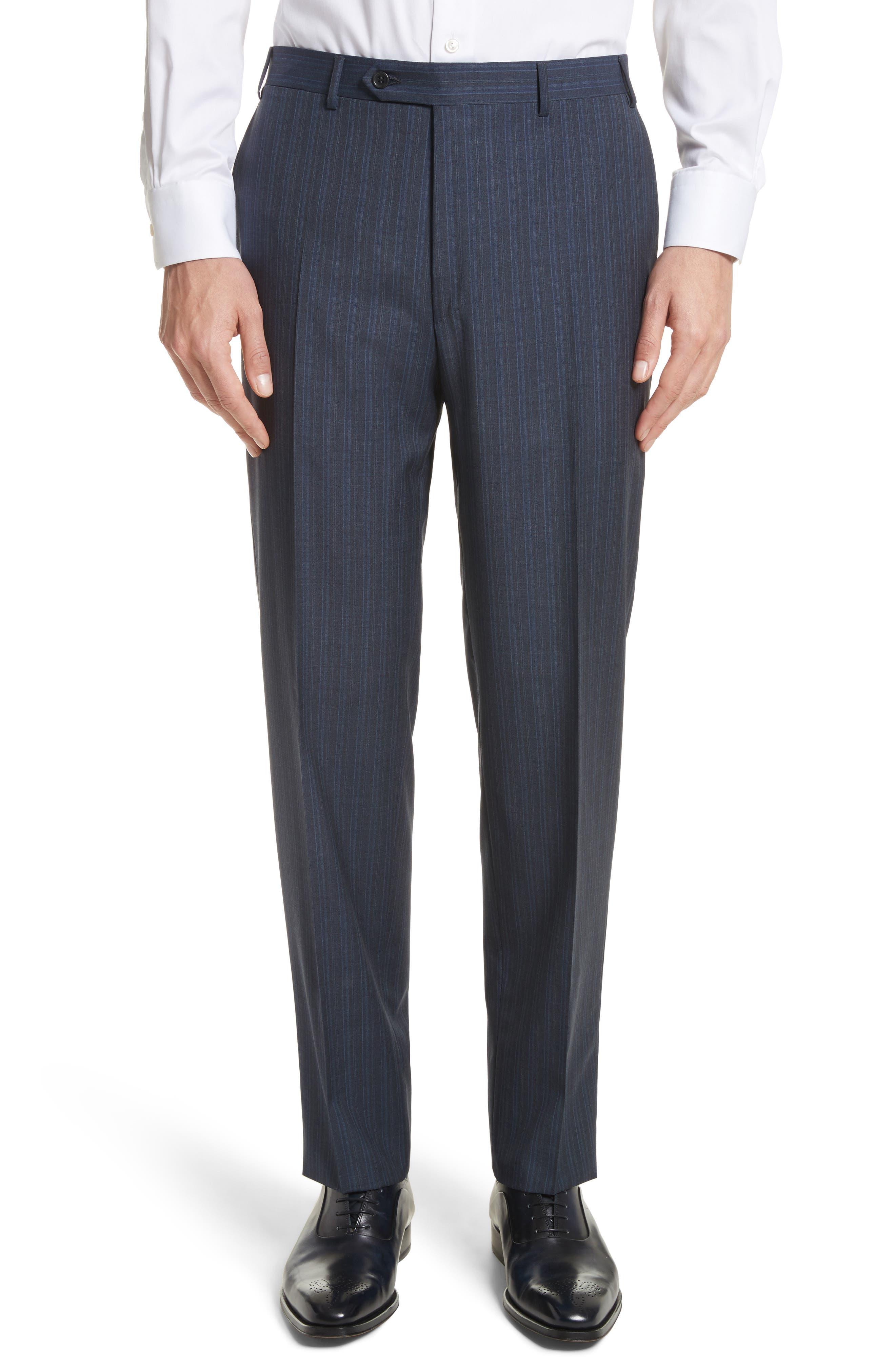 Classic Fit Stripe Wool Suit,                             Alternate thumbnail 6, color,