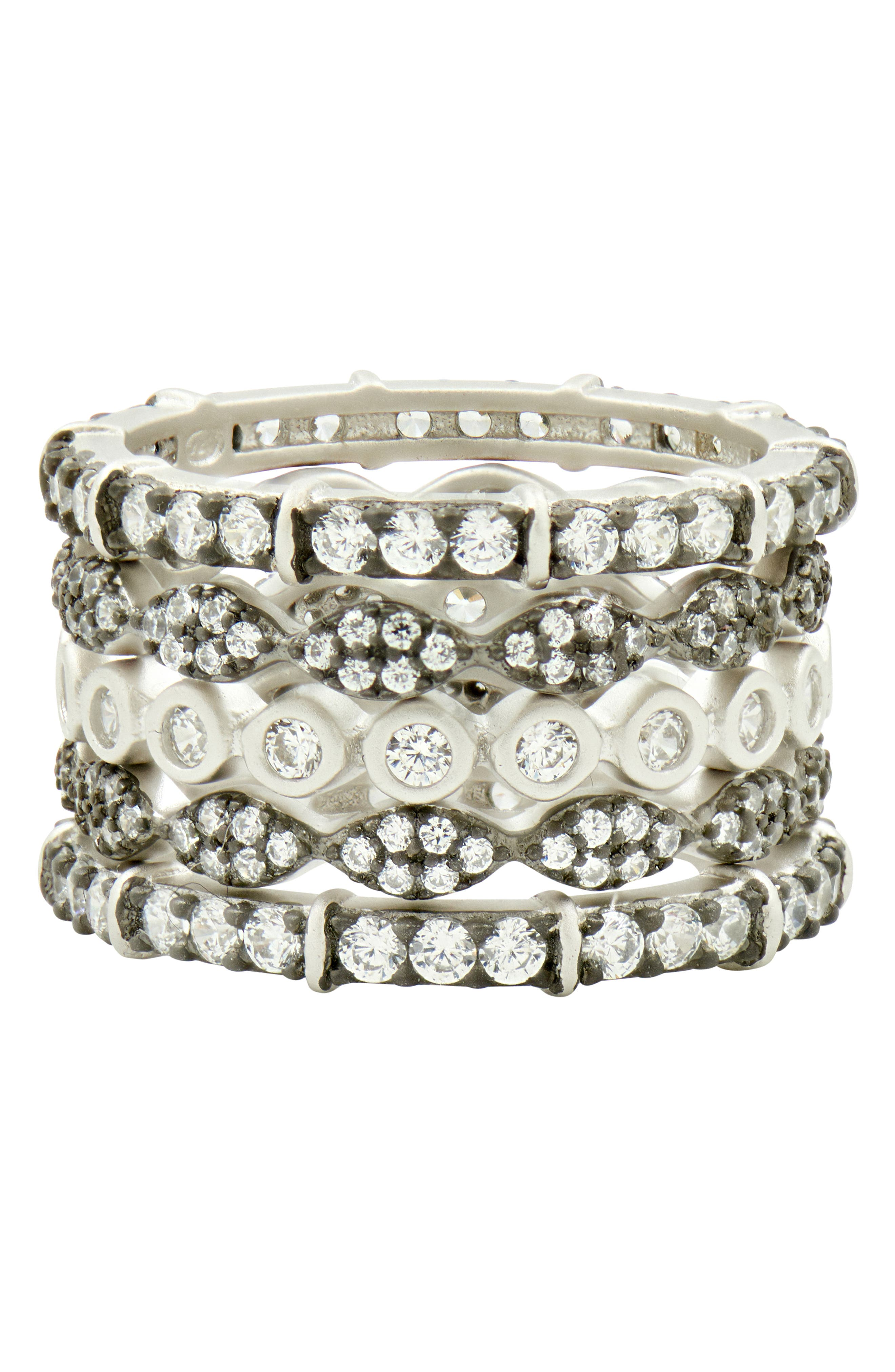 Classic Mixed 5-Stack Ring,                             Alternate thumbnail 3, color,                             BLACK/ WHITE/ SILVER