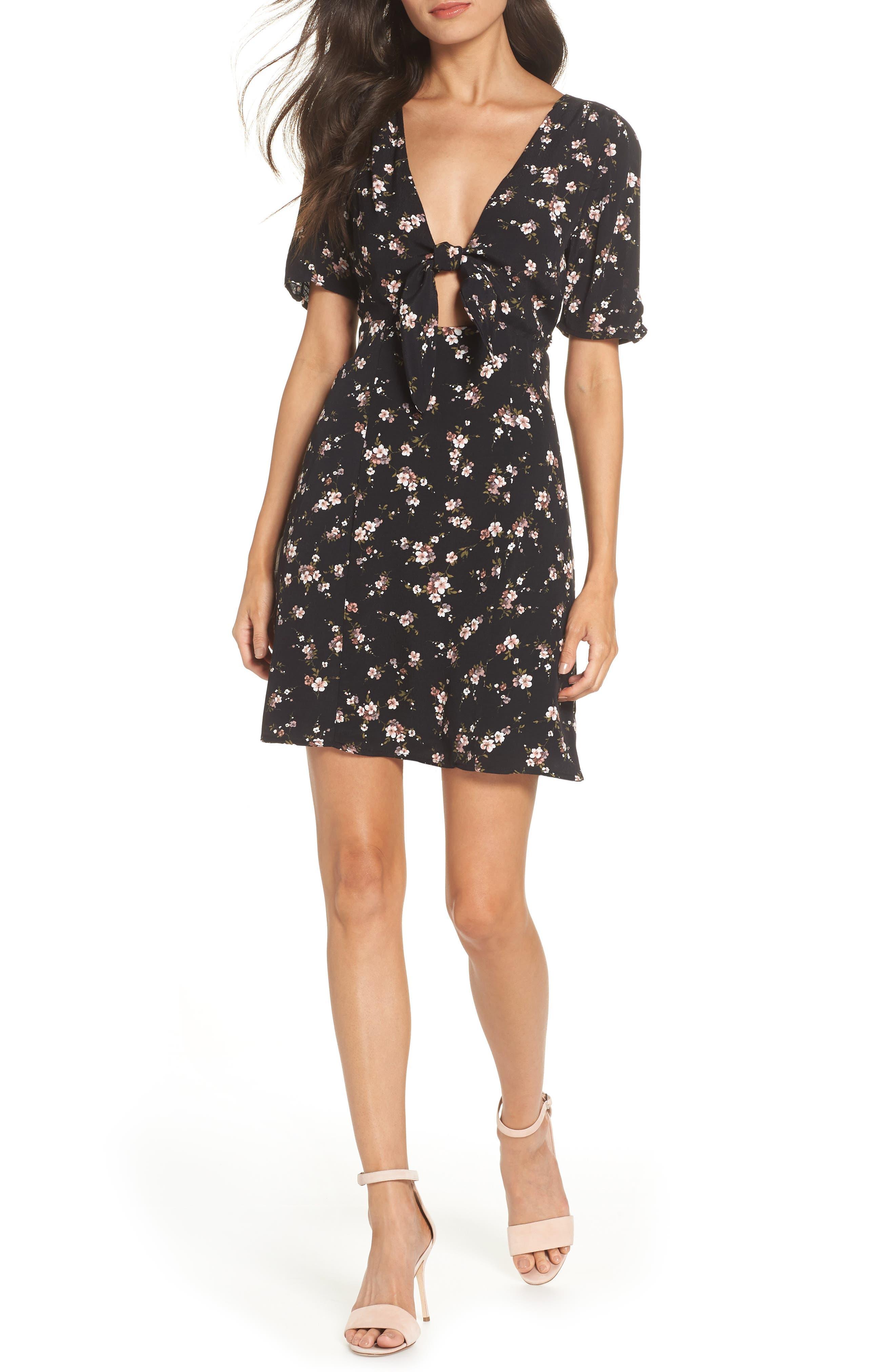 Amelia Cutout Knot Front Dress,                         Main,                         color, SPRING FLORAL