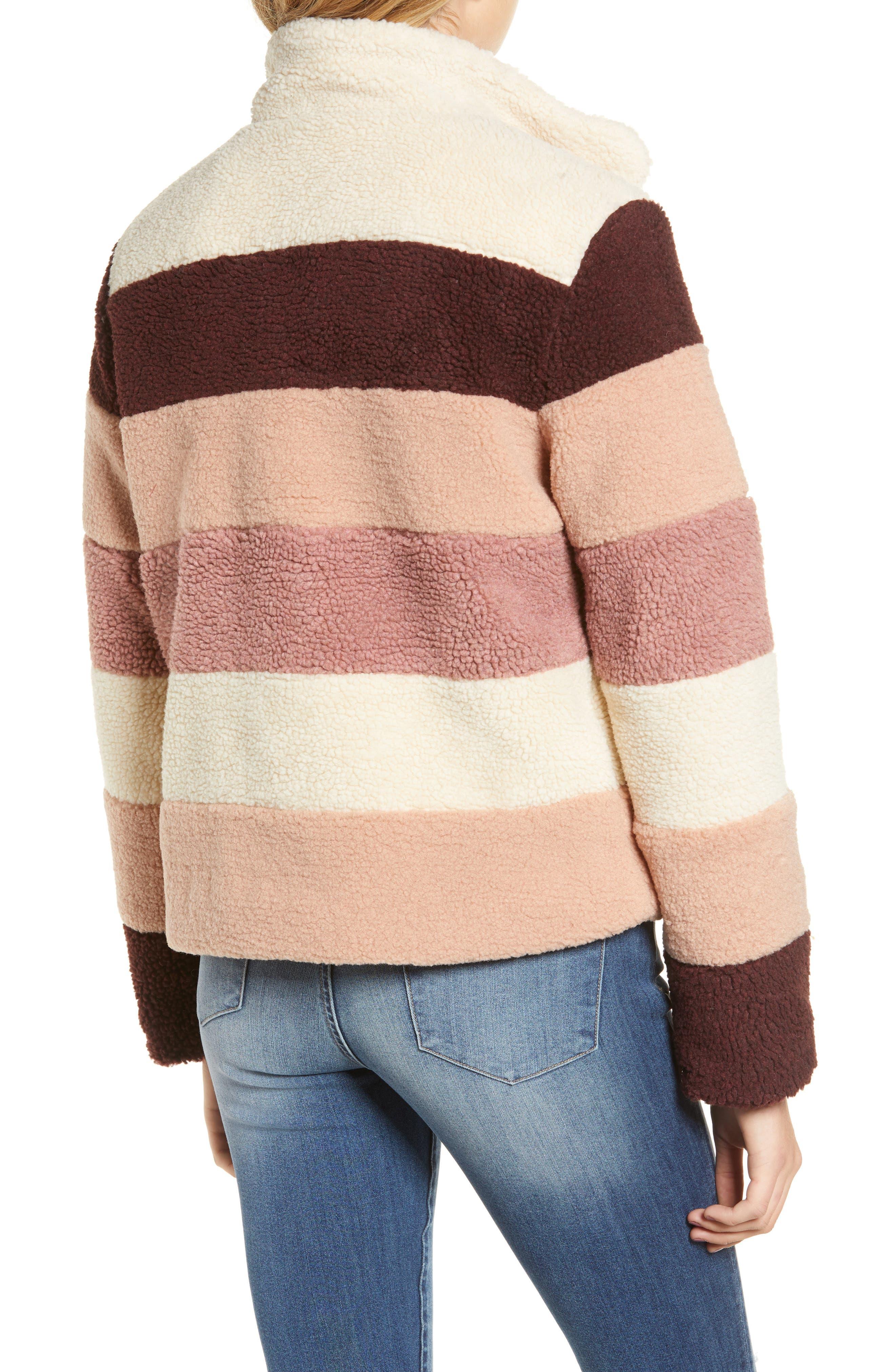 Stripe Faux Shearling Jacket,                             Alternate thumbnail 2, color,                             IVORY EGRET MUTLI STRIPE