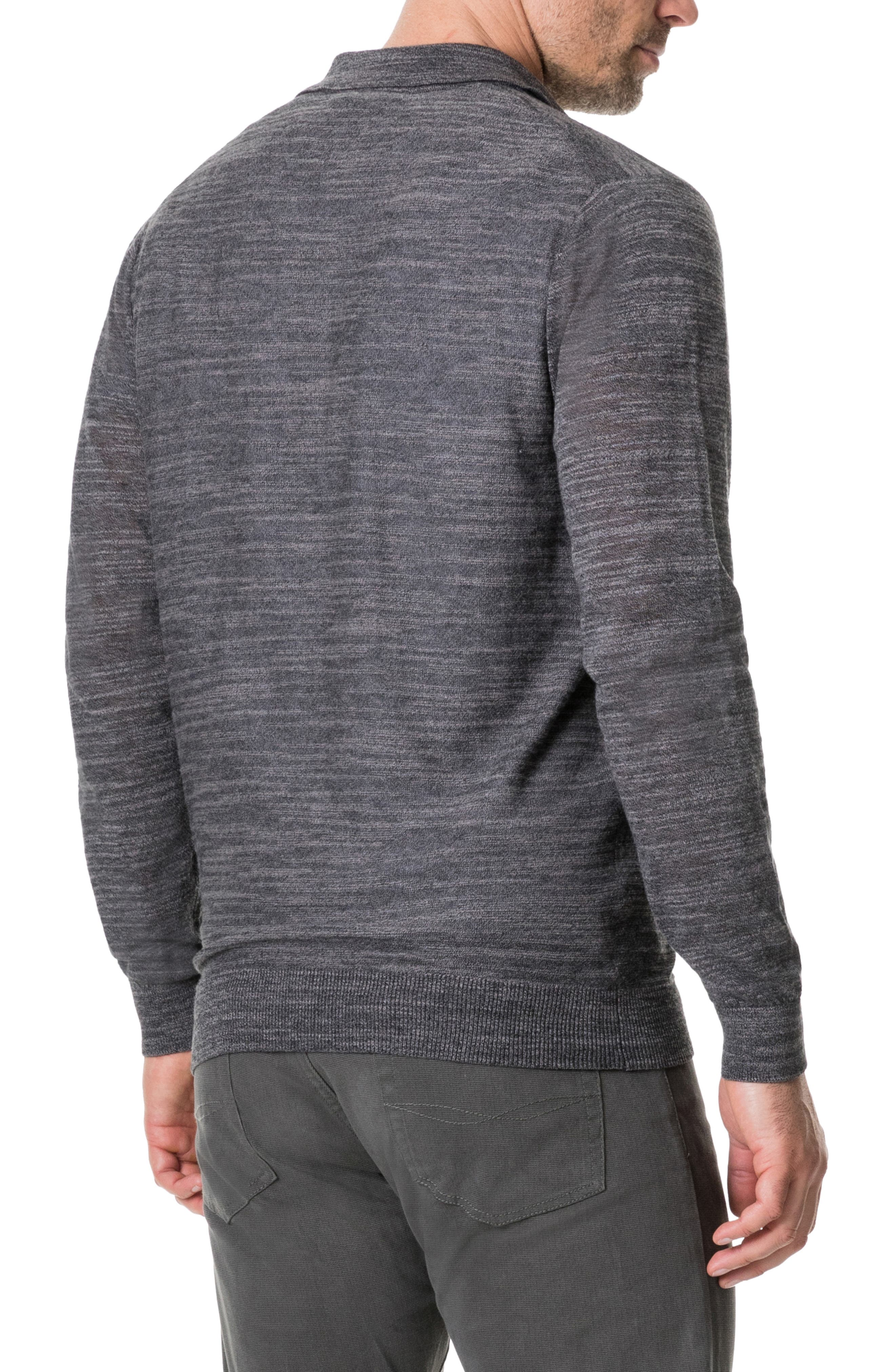 Barret Reef Long Sleeve Polo,                             Alternate thumbnail 2, color,                             CHARCOAL