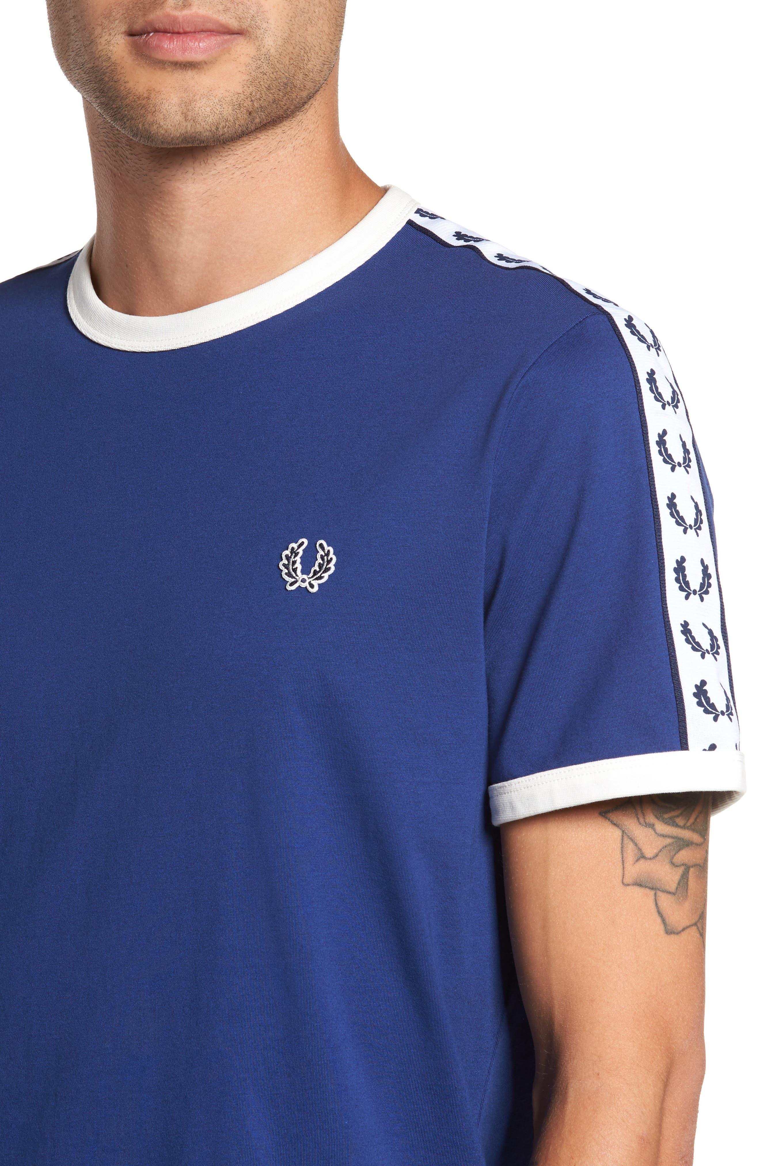 Extra Trim Fit Cotton Ringer T-Shirt,                             Alternate thumbnail 4, color,                             405