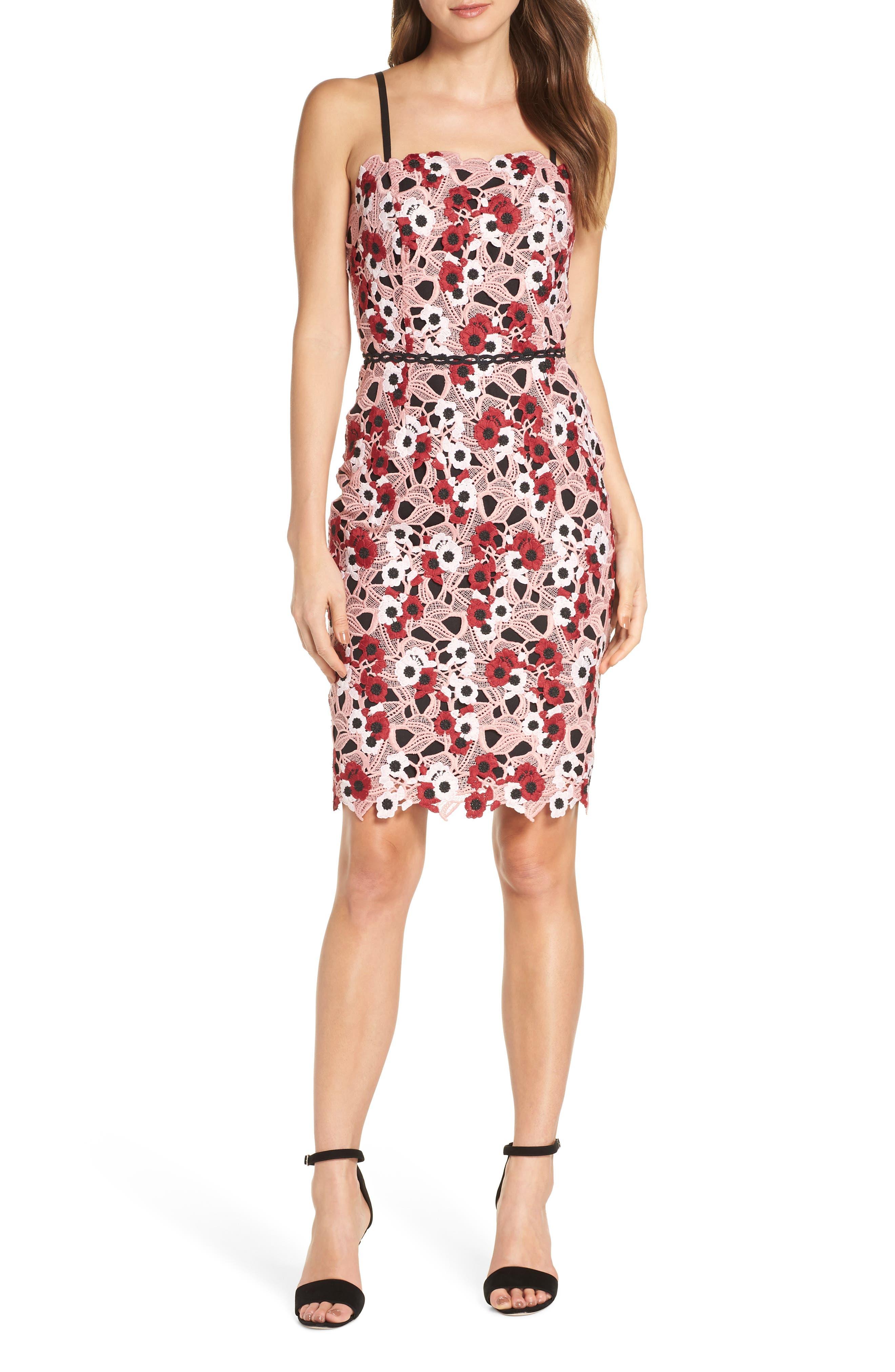 Adelyn Rae Harlow Lace Sheath Dress, Pink