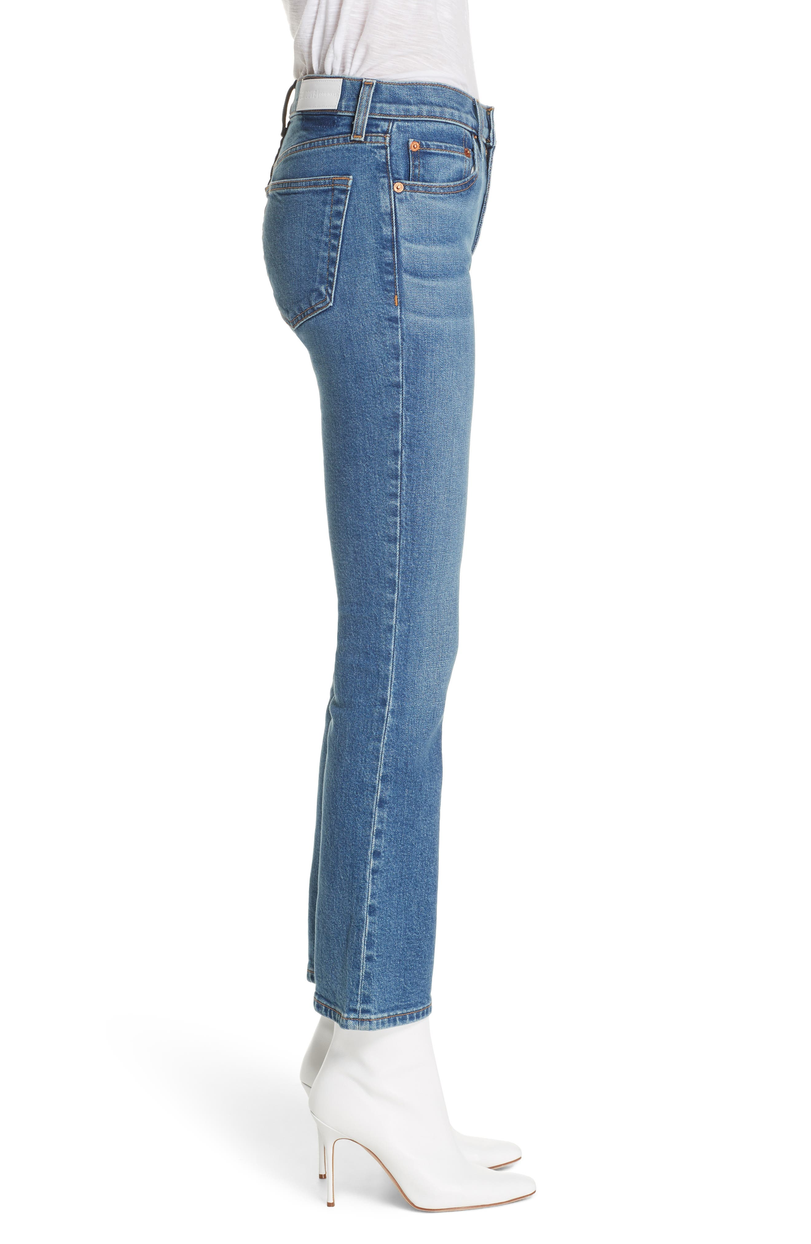 Crop Stretch Flare Jeans,                             Alternate thumbnail 3, color,                             MID 70S