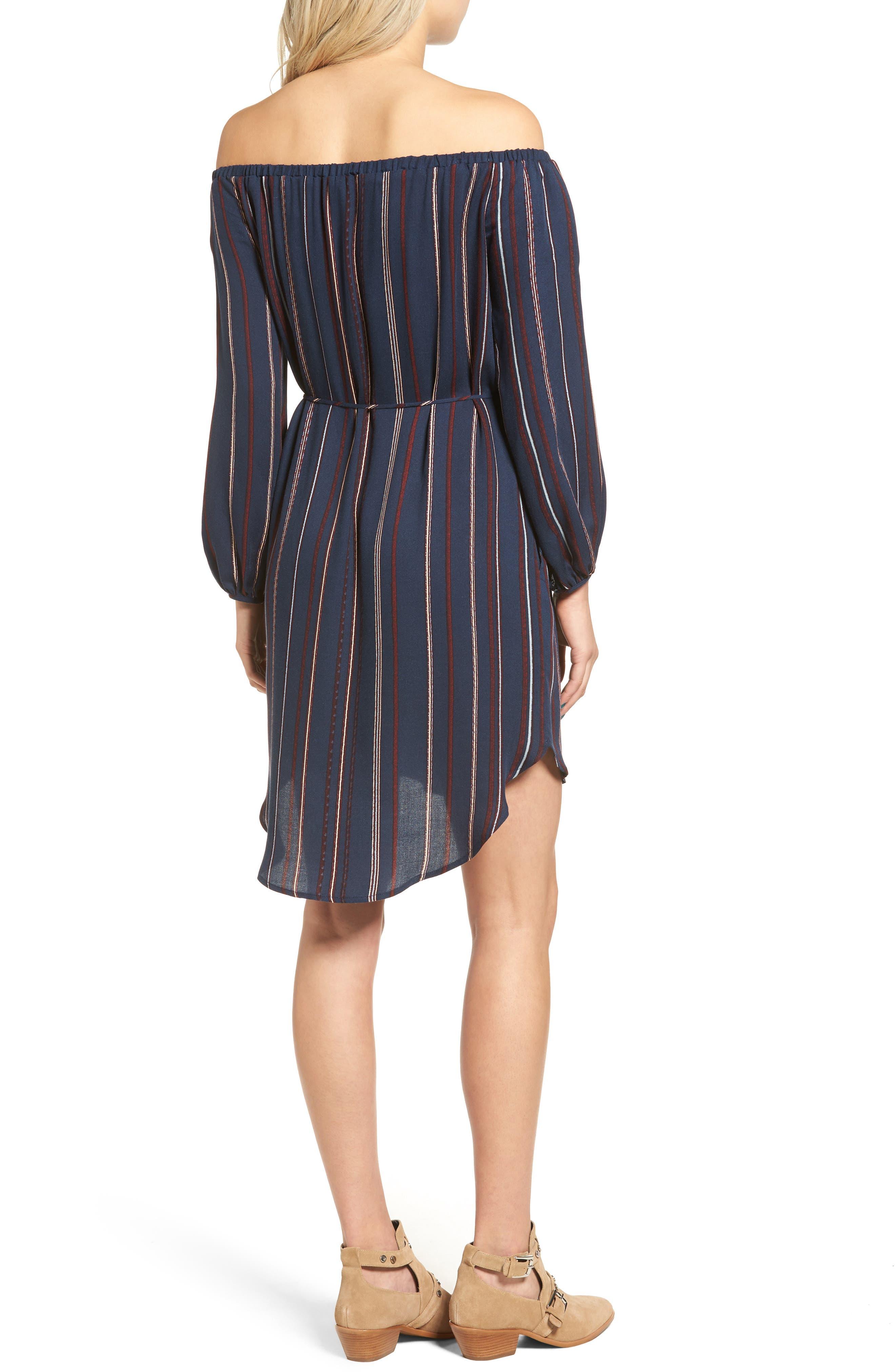 ---,                             Stripe Off the Shoulder Shirtdress,                             Alternate thumbnail 2, color,                             400