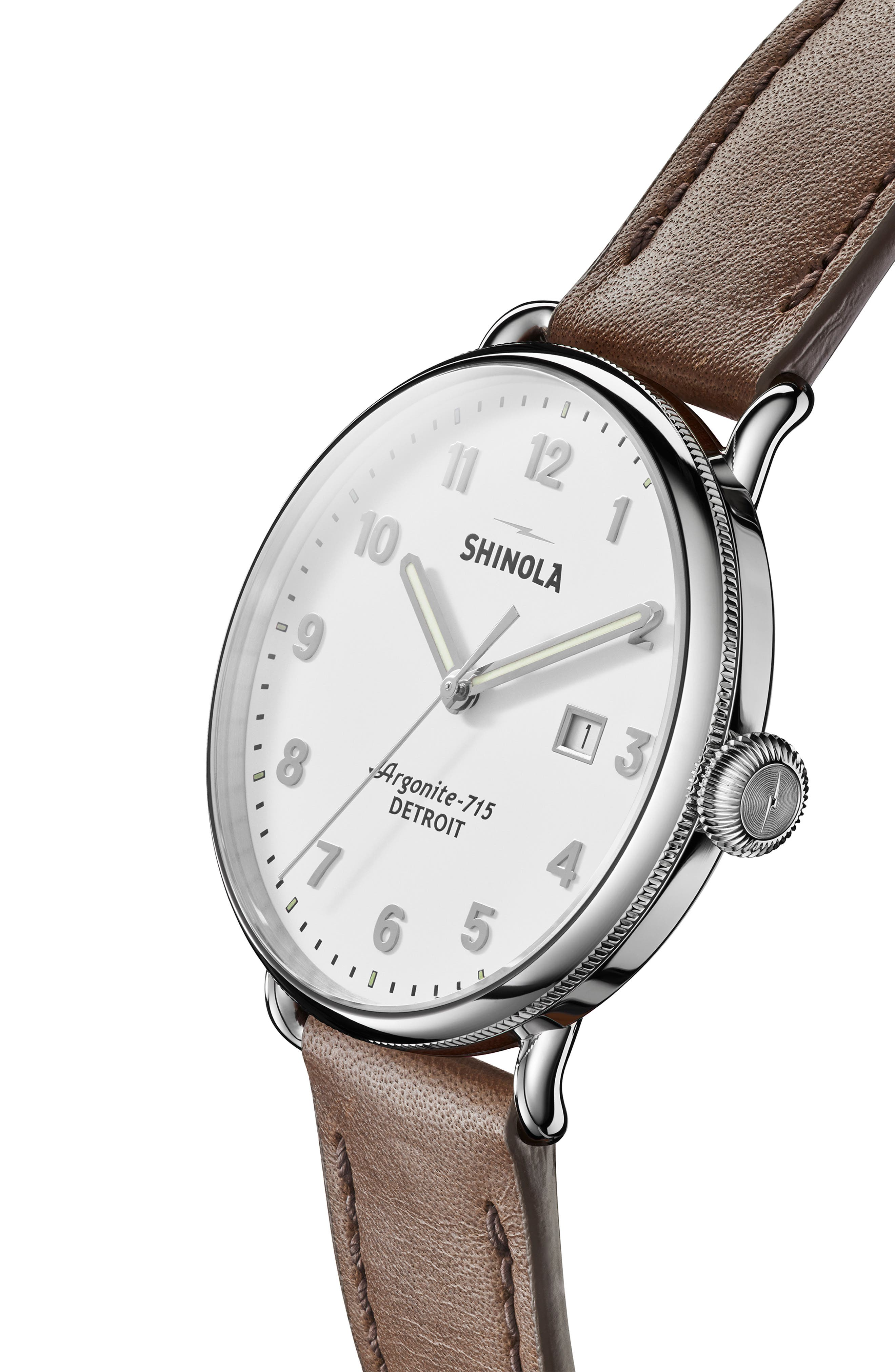 The Canfield Leather Strap Watch, 45mm,                             Alternate thumbnail 5, color,                             DK BROWN/ALBSTER WHT/SILV