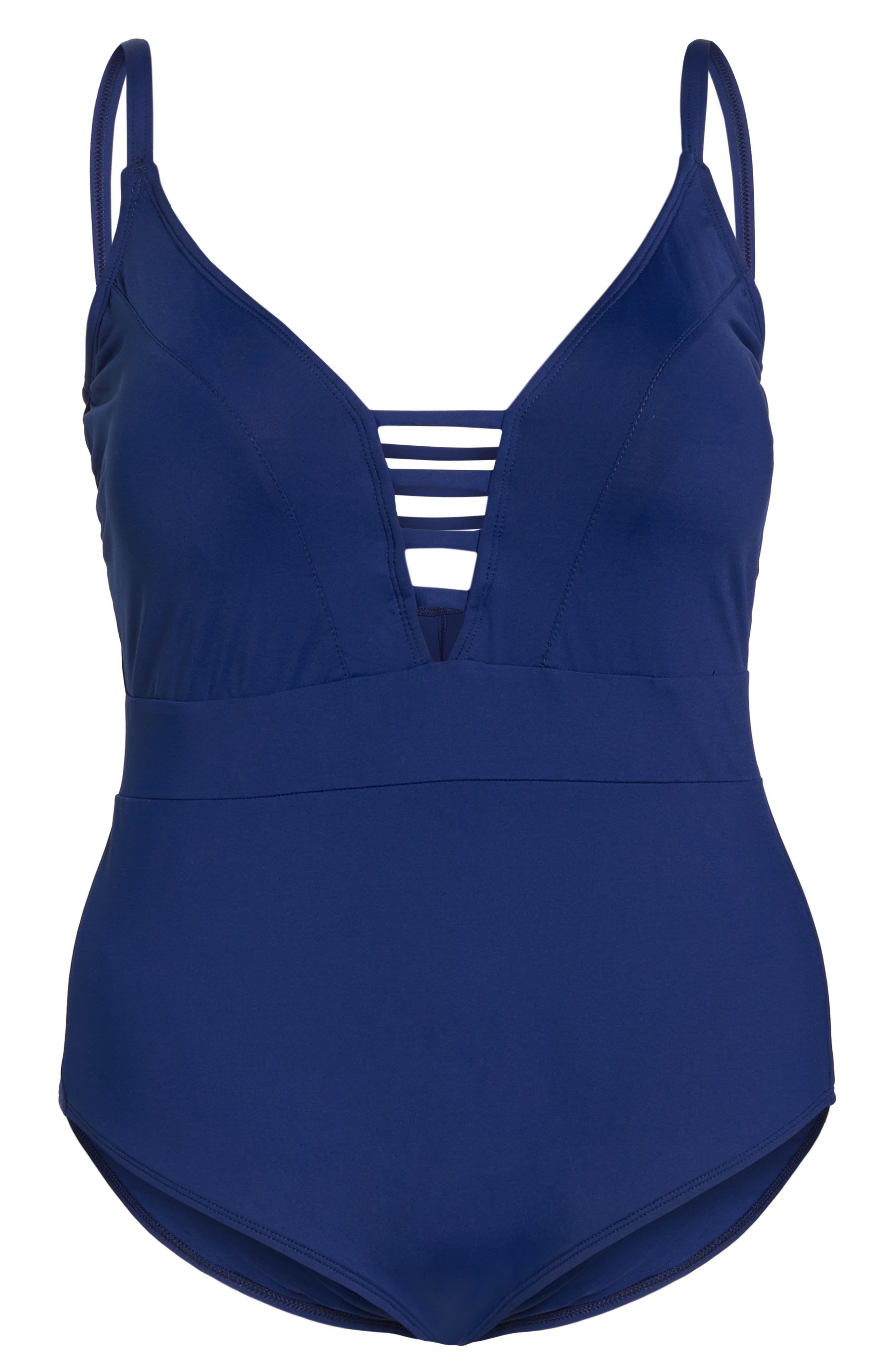 Plunge One-Piece Swimsuit,                             Alternate thumbnail 6, color,                             MIDNIGHT