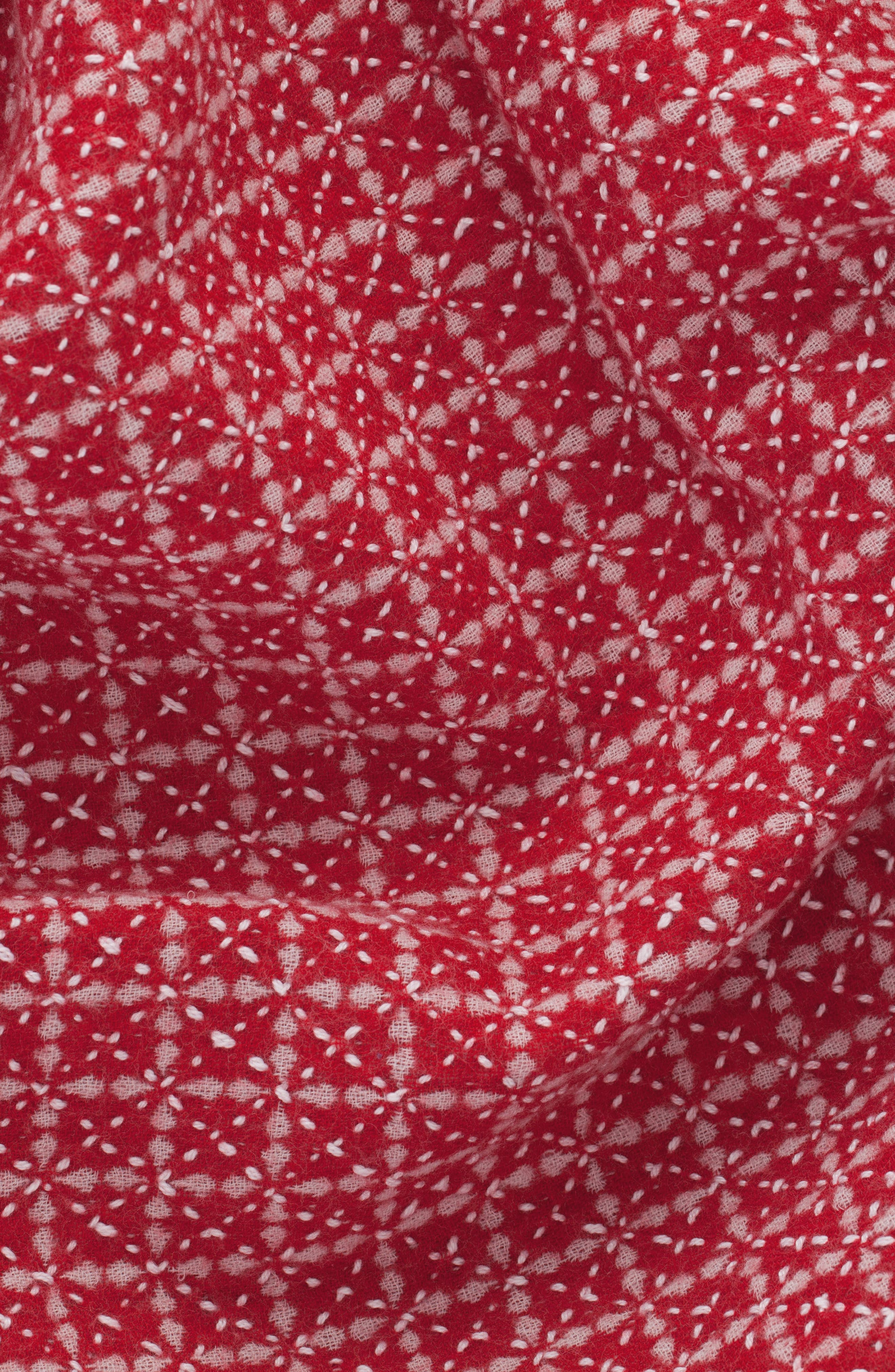 Reversible Hand Embroidered Merino Wool Blanket,                             Alternate thumbnail 2, color,                             RED