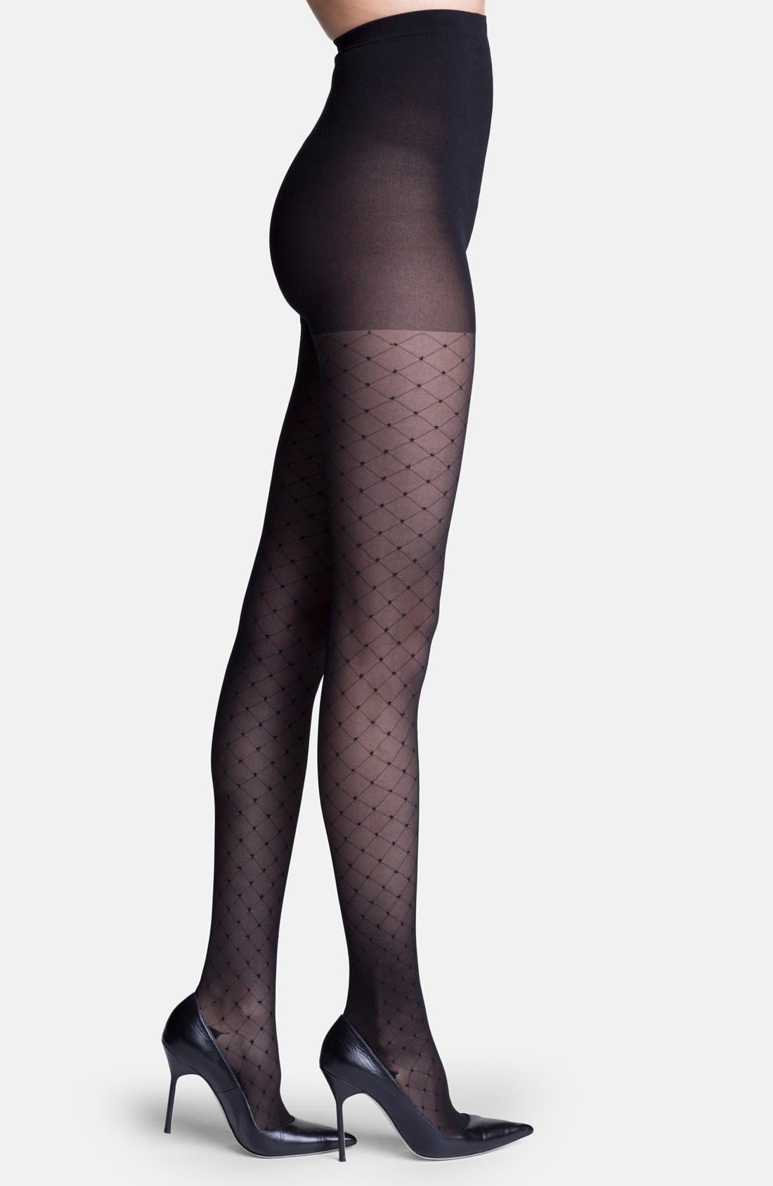 'Starlet' Diamond Pattern Compression Pantyhose,                             Main thumbnail 1, color,                             BLACK