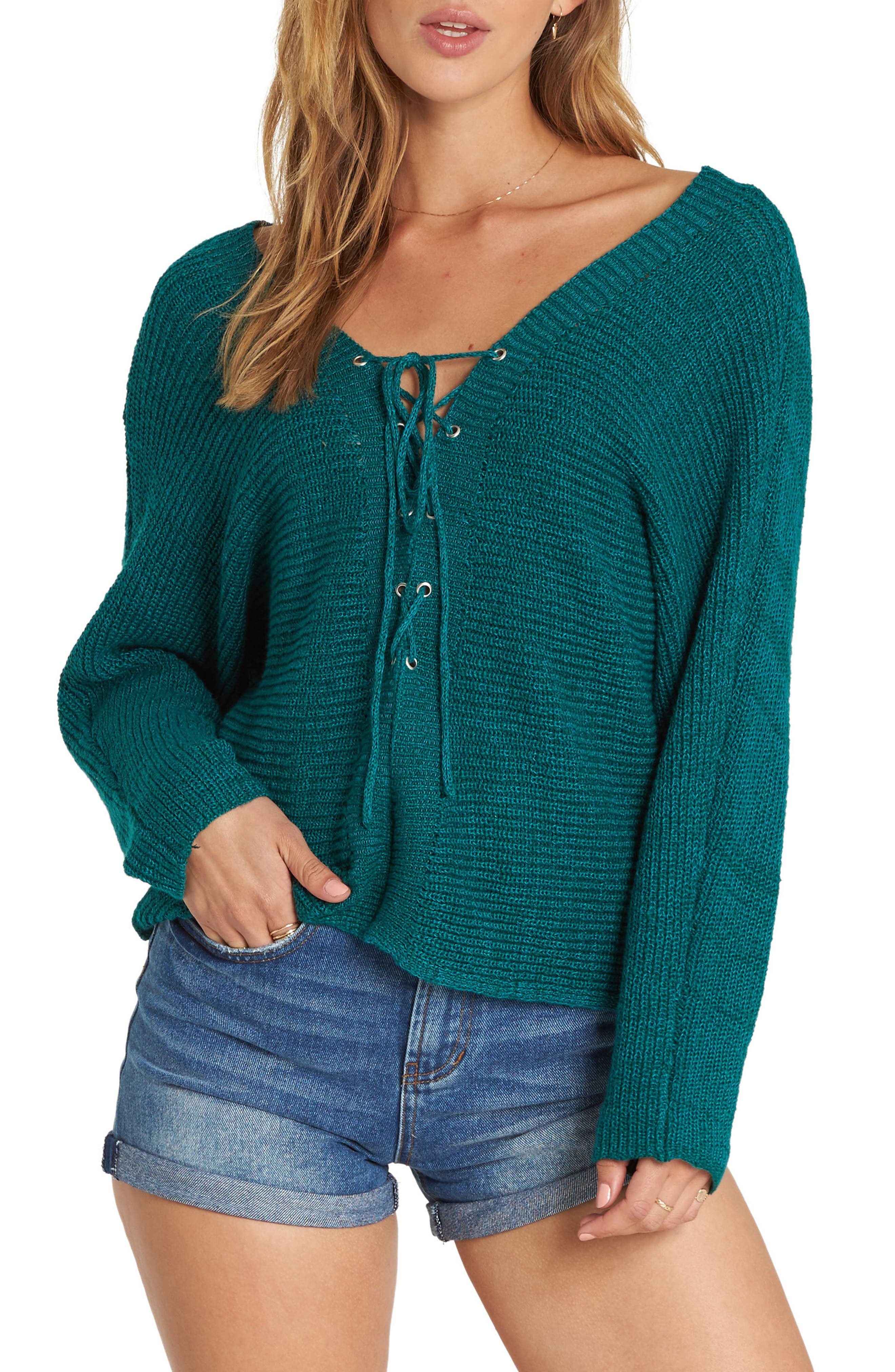 Lace-Up Sweater,                         Main,                         color, DEEP LAGOON