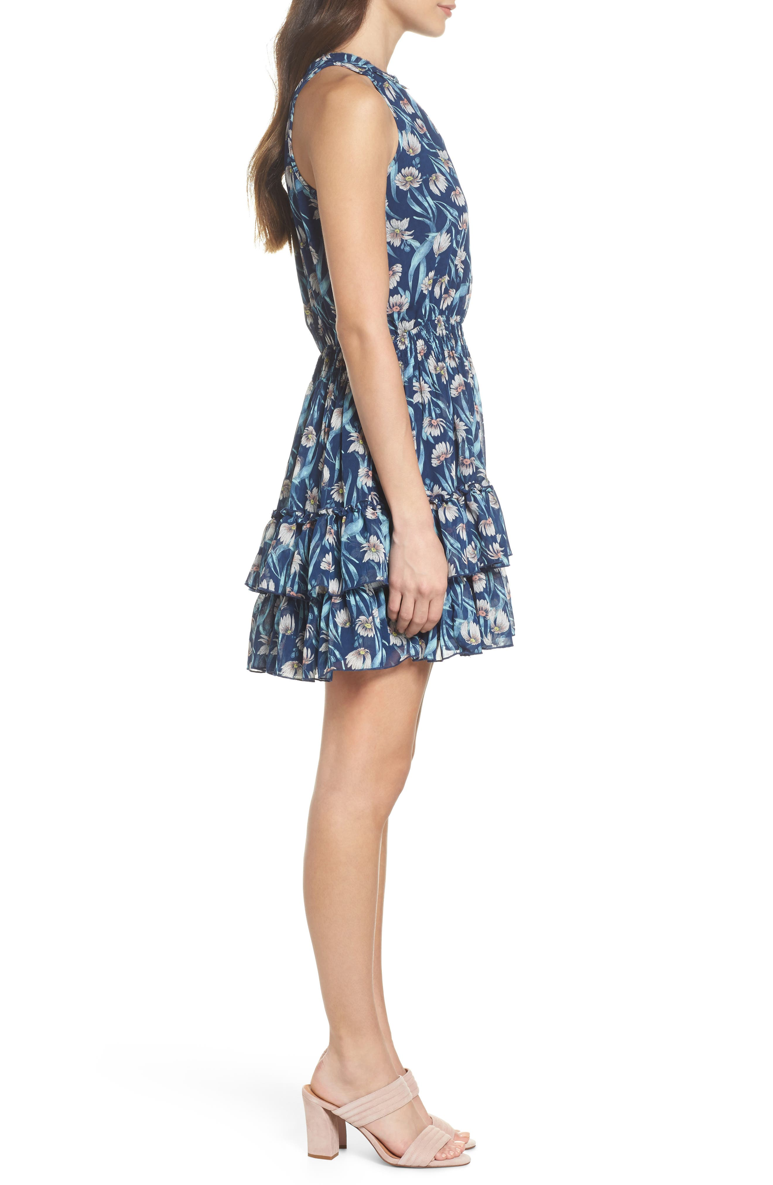 Floral Smocked Waist Minidress,                             Alternate thumbnail 3, color,                             400