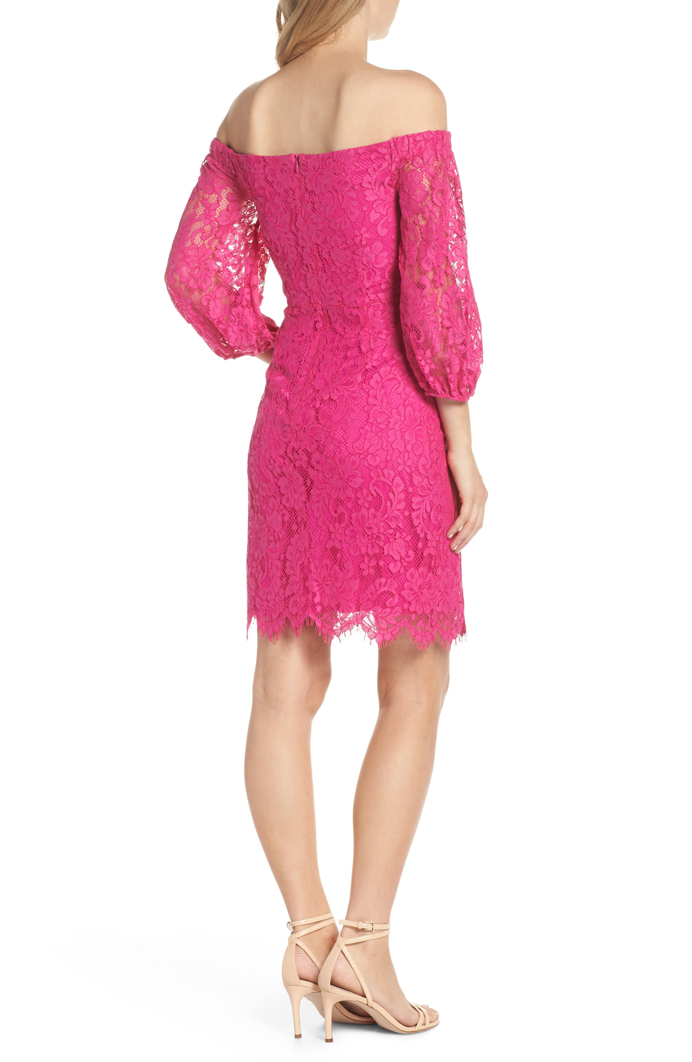 Azul Scallop Hem Off the Shoulder Lace Dress,                             Alternate thumbnail 2, color,                             BRILLIANT FUCHSIA