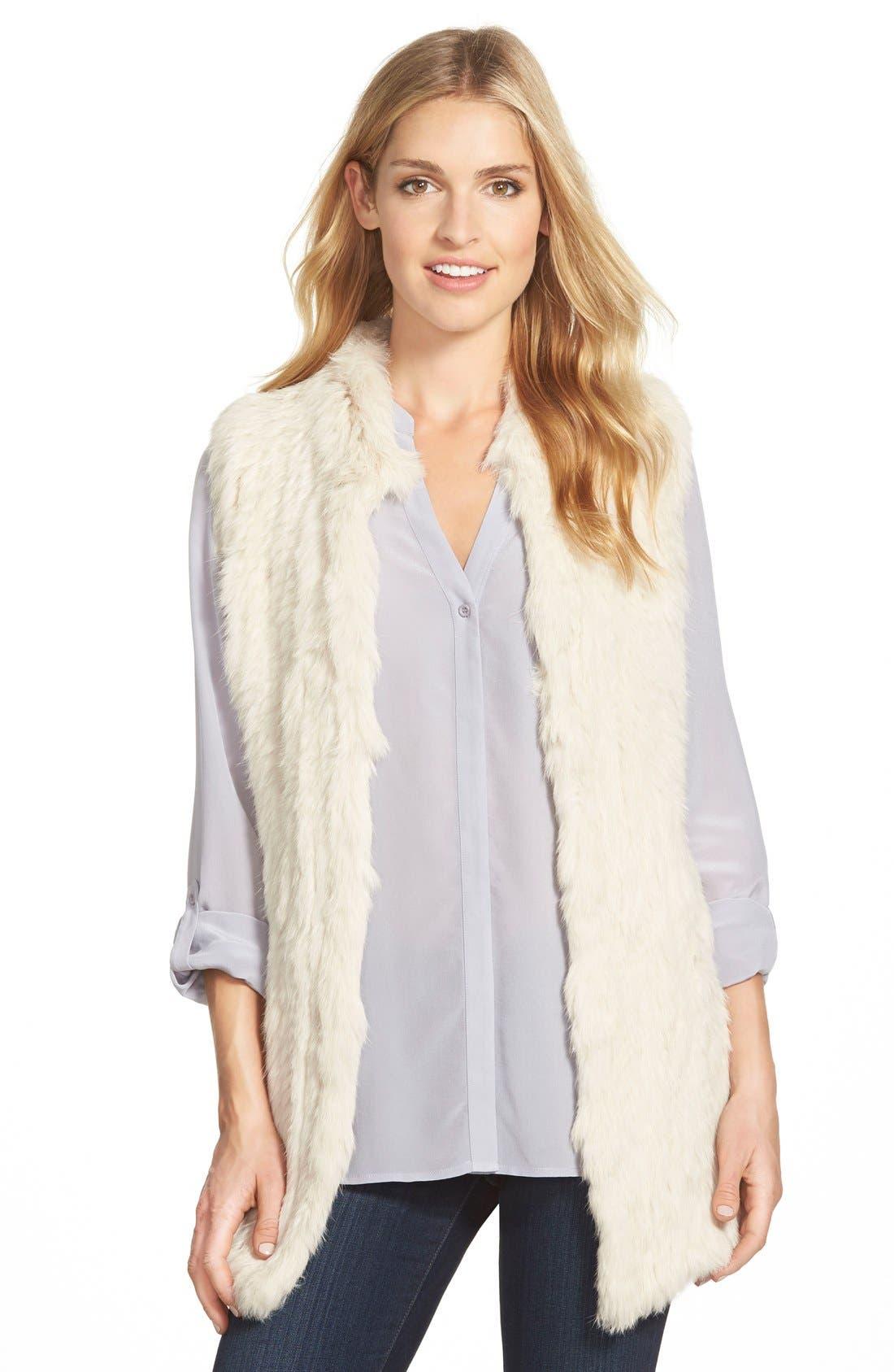 Genuine Rabbit Fur & Knit Vest,                             Main thumbnail 5, color,
