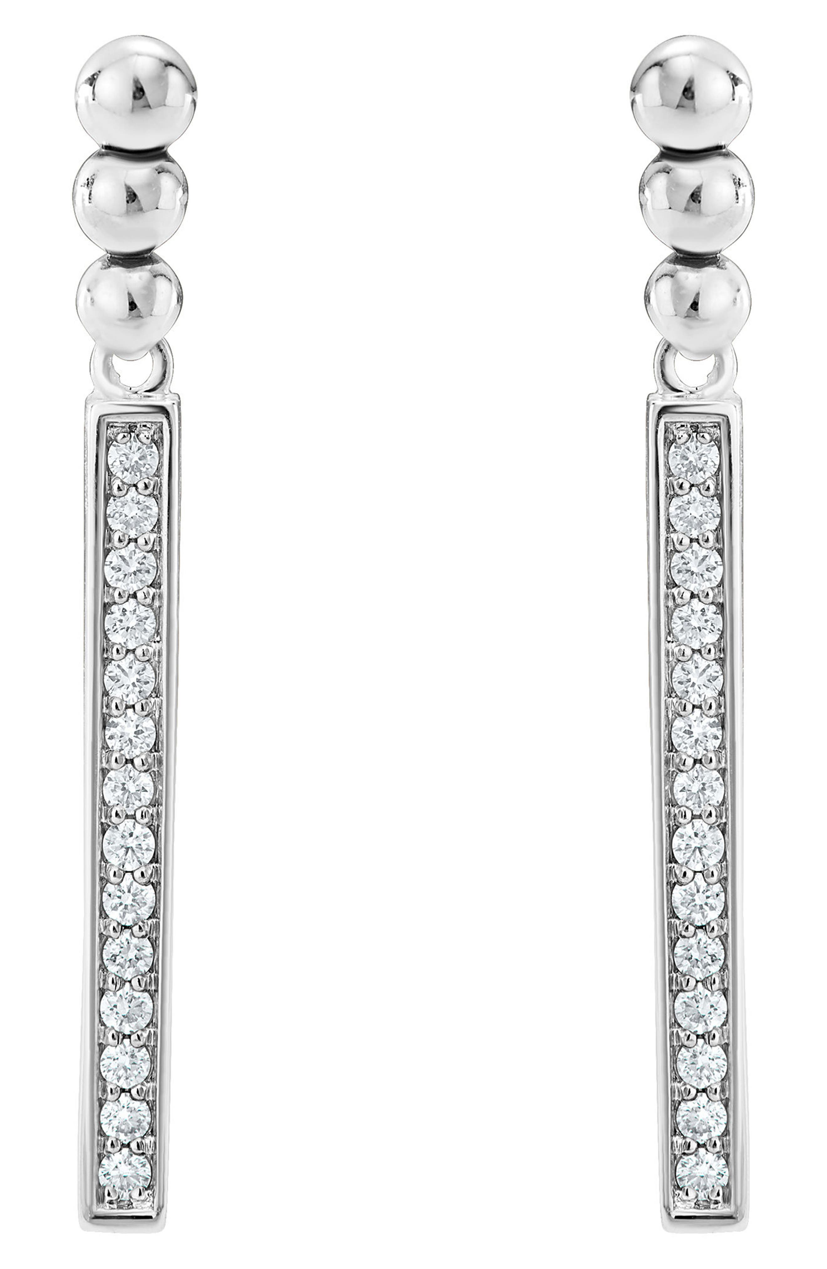 Caviar Spark Diamond Drop Earrings,                             Main thumbnail 1, color,                             SILVER/ DIAMOND