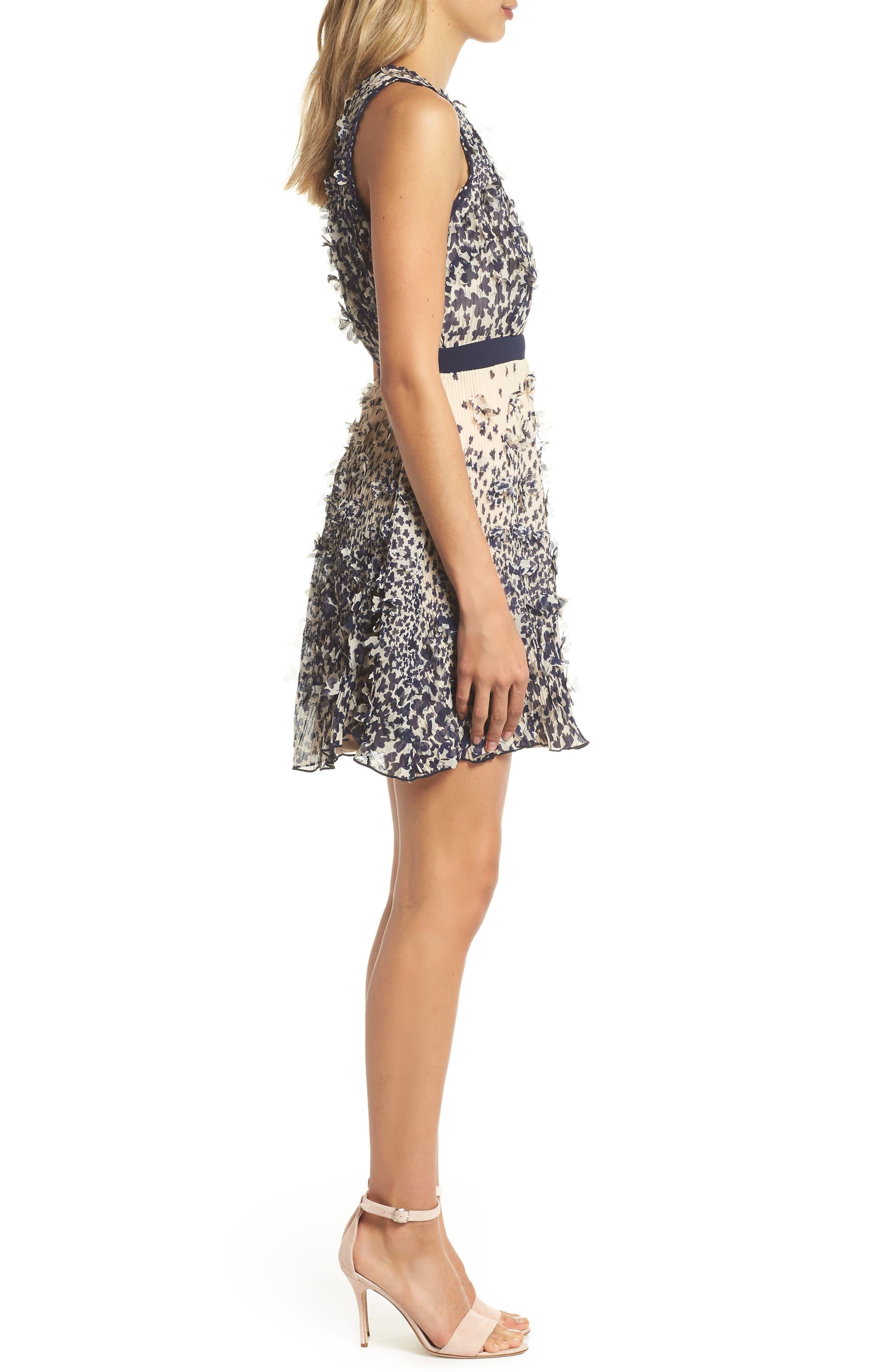 Mariposa 3D Embellished Minidress,                             Alternate thumbnail 3, color,