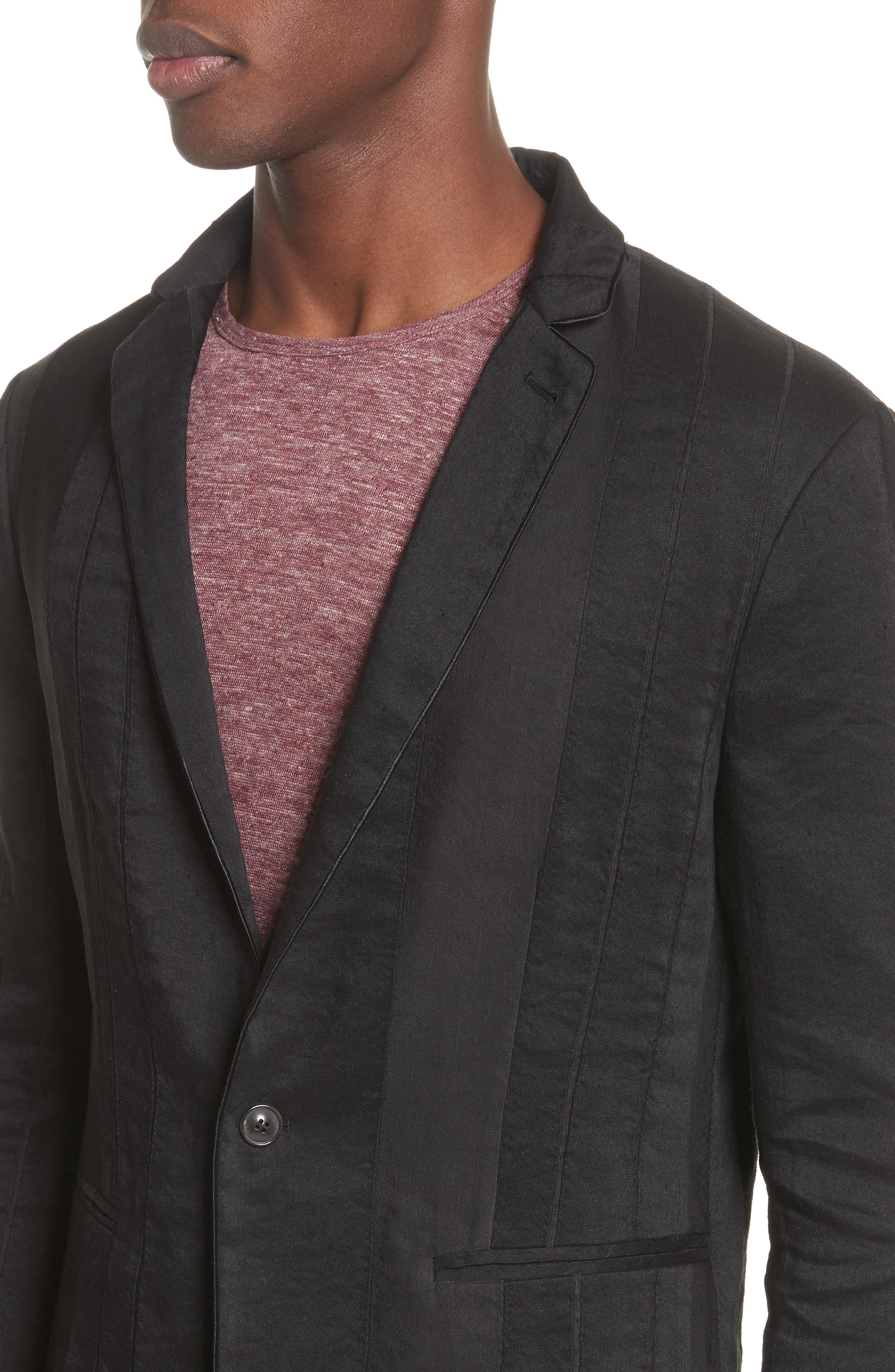 Slim Fit Linen Blend Blazer,                             Alternate thumbnail 4, color,                             BLACK