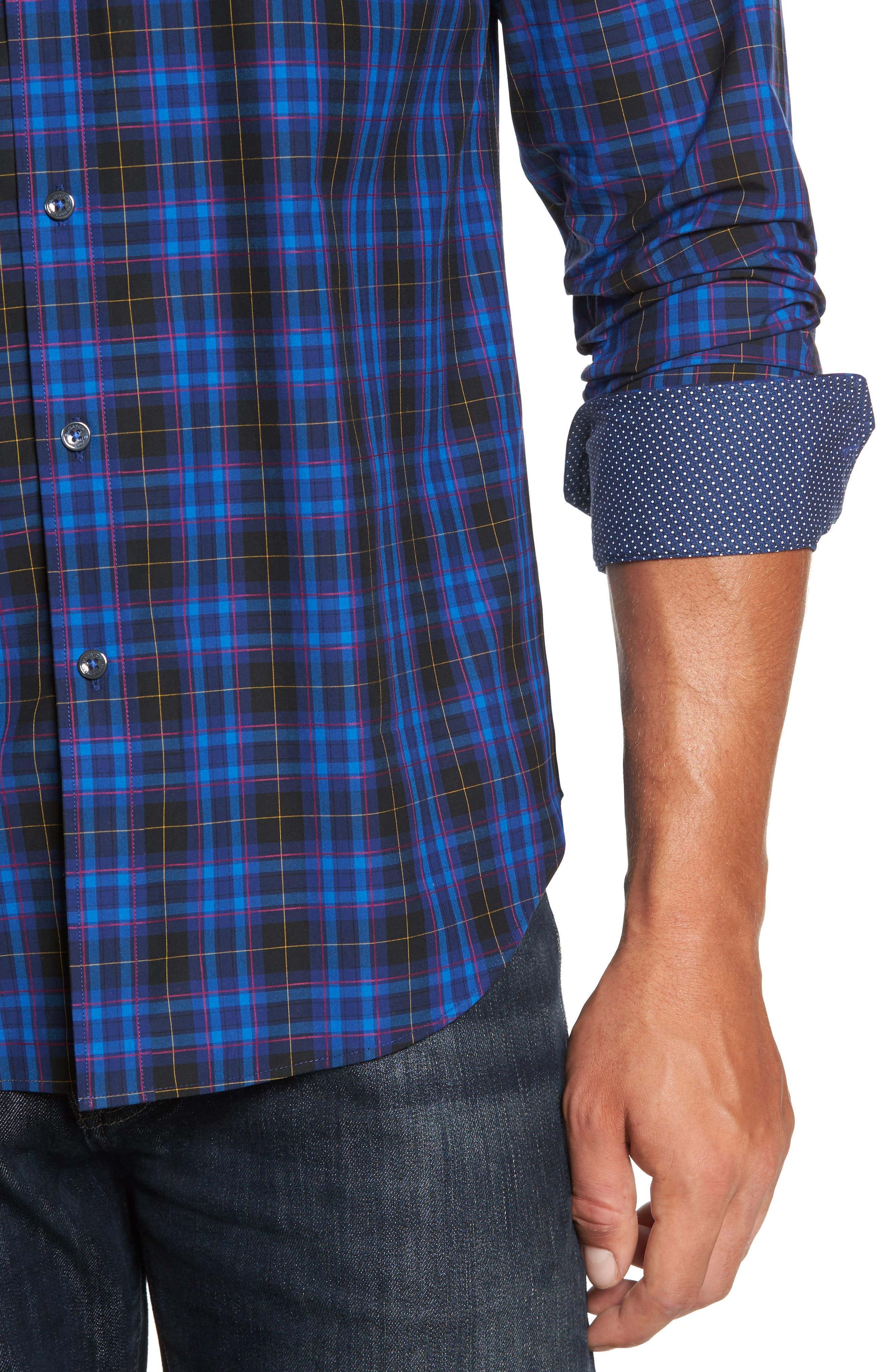 Shaped Fit Plaid Sport Shirt,                             Alternate thumbnail 4, color,                             411