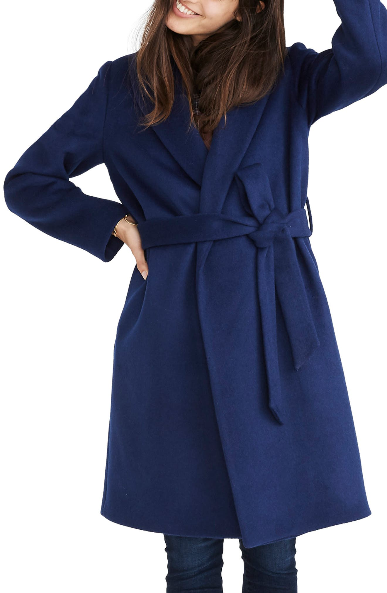 Shawl Collar Wrap Coat,                         Main,                         color, NIGHT SKY