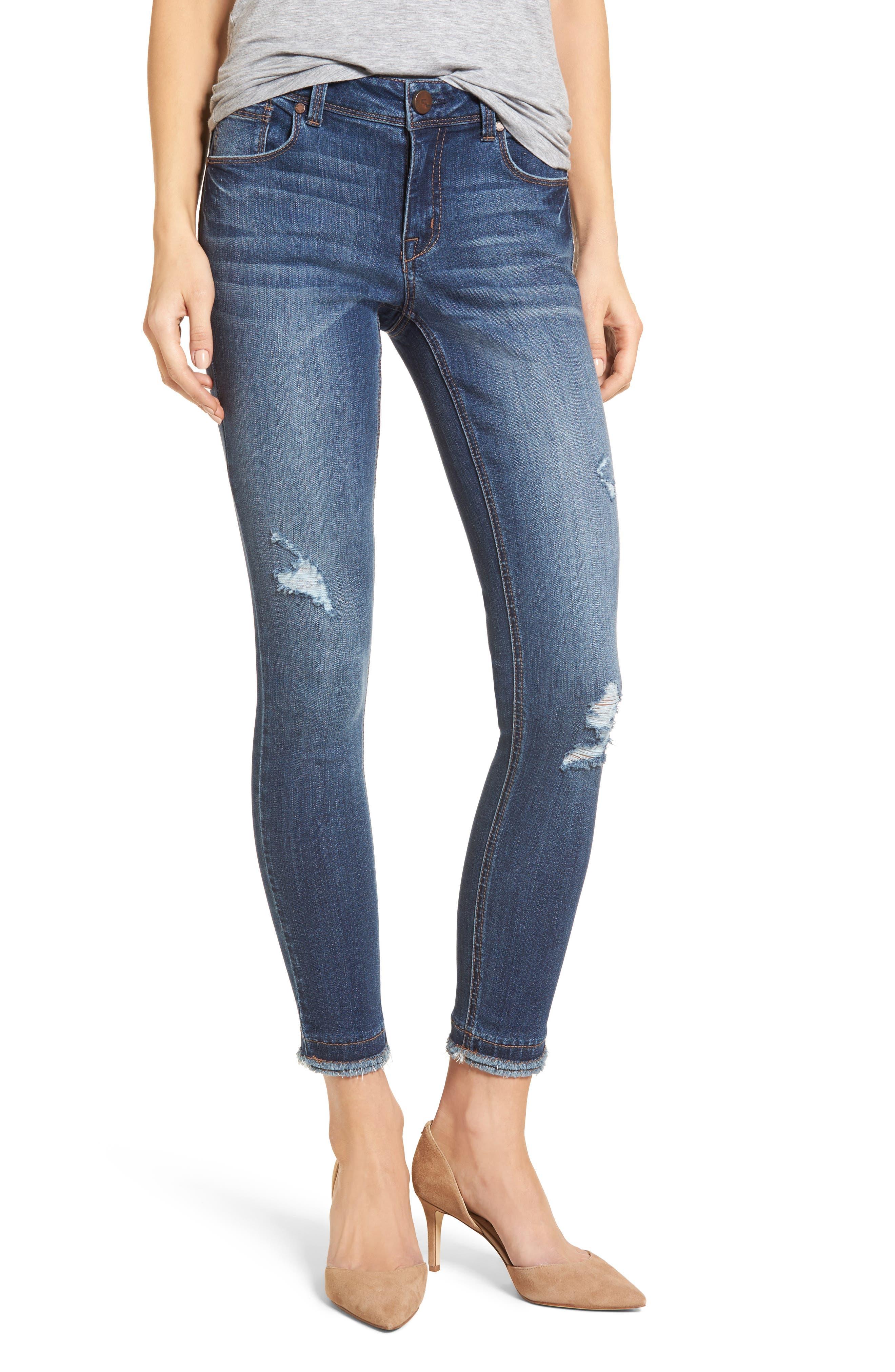 Double Fray Hem Skinny Jeans,                             Main thumbnail 1, color,                             420