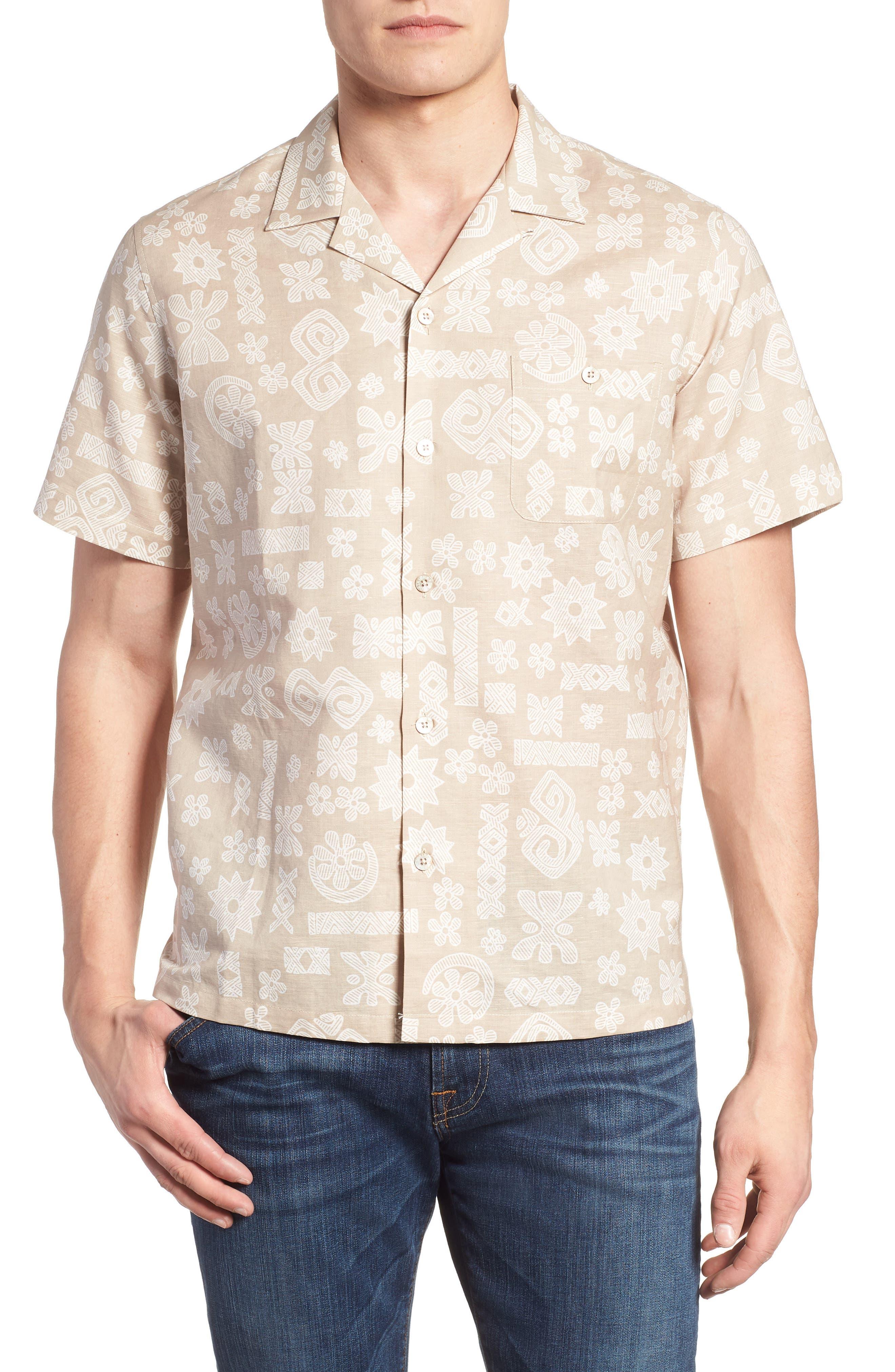 TORI RICHARD Tapa Twist Trim Fit Linen & Cotton Camp Shirt, Main, color, 290